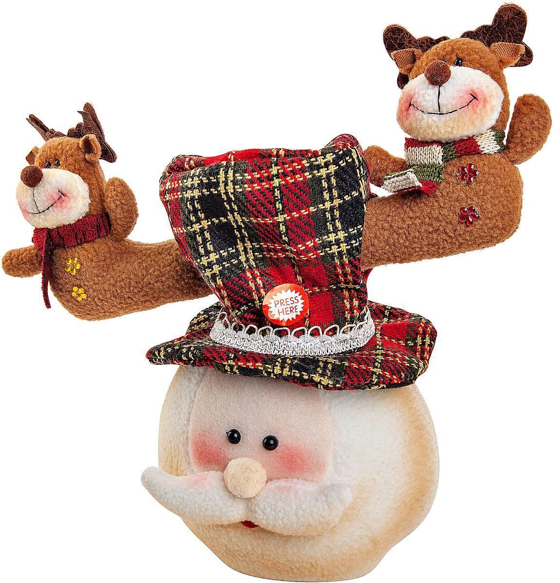Игрушка новогодняя Mister Christmas Дед Мороз, электромеханическая, высота 30 смCHL-312SNНовогодняя пляшущая и поющая игрушка Mister Christmas Дед Мороз послужит оригинальным подарком в преддверии Нового года. Внешний вид сувенира весьма незатейлив. Изделие выполнено в виде головы Деда Мороза с колпаком, дополнением служат рога с фигурами оленей. При нажатии на эти рожки игрушка начинает двигаться в такт песни. Несмотря на столь ритмичные движения, механизм игрушки прослужит очень и очень долго. Все материалы, входящие в состав игрушки, прошли тщательные проверки и отличаются высочайшим качеством. Так же стоит отметить и то, что все материалы экологичны и безопасны. Работает от батареек (входят в комплект). Собираясь на празднование Нового года, прихватите с собой новогоднюю музыкальную игрушку Mister Christmas Дед Мороз, ведь это подарок, который говорит сам за себя! Высота игрушки: 30 см.