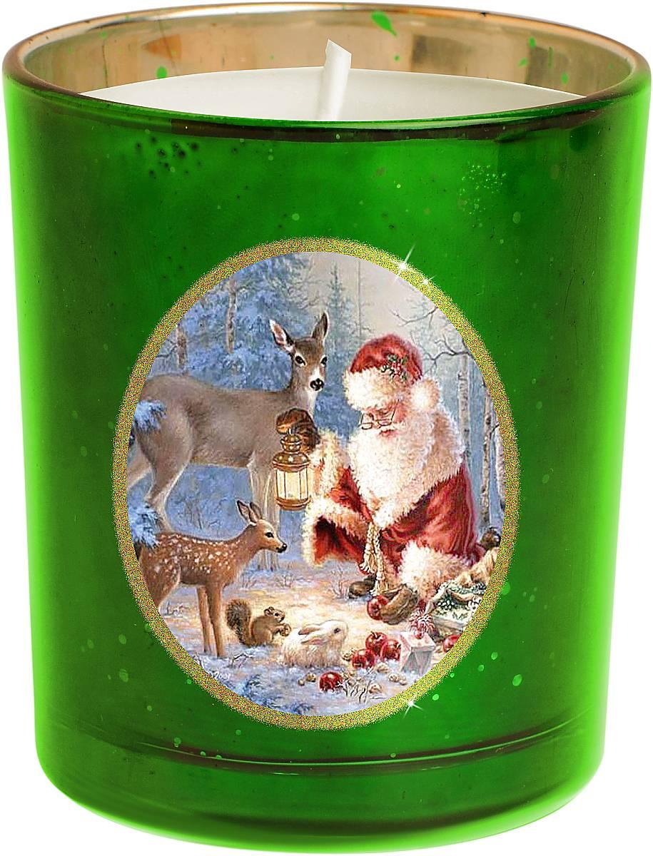 Свеча новогодняя Mister Christmas Зимняя сказка, цвет: зеленый, золотистый, высота 8 смKG-G1На первый взгляд может показаться, что свеча - уже довольно банальный подарок на Новый год. Но свечи тоже бывают разные. Декоративная свеча Mister Christmas Зимняя сказка выполнена из качественного воска, она помещена в подсвечник в виде стакана. Подсвечник изготовлен из прочного толстого стекла, а на стенку нанесен рисунок - новогодний сюжет: Дед Мороз в компании со своими оленями готовится к празднику в заснеженном лесу. Рисунок выполнен качественными стойкими красками. Каждая линия, каждая черточка - все это сделано вручную. Такая свеча атмосферно украсит праздничный стол дома или рабочее место в офисе.