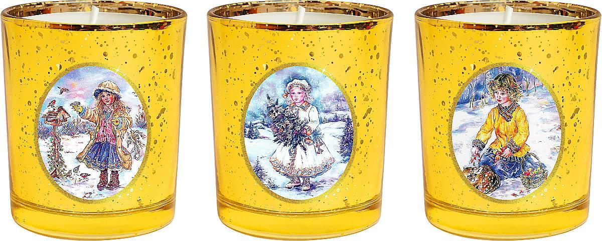 Набор новогодних свечей Mister Christmas Зимняя сказка, высота 7 см. KG-SET-3KG-SET-3