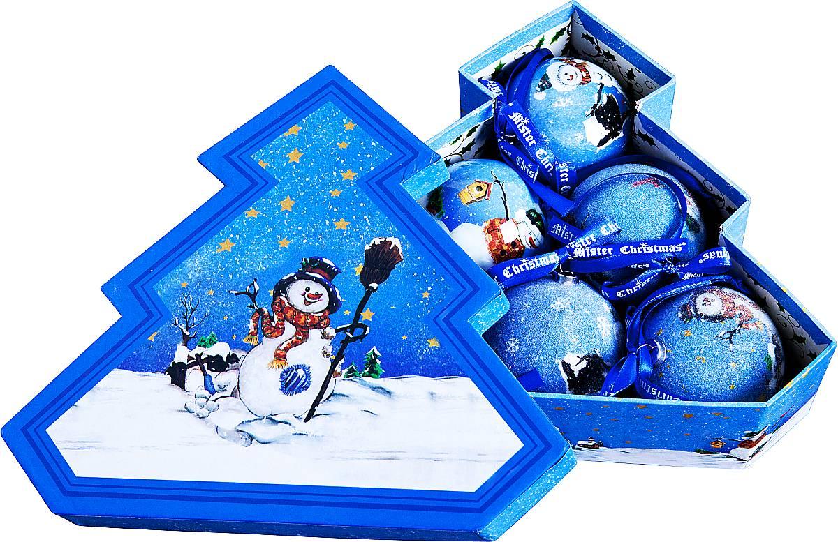 Набор новогодних подвесных украшений Mister Christmas Папье-маше, диаметр 7,5 см, 6 шт. PM-27-6TPM-27-6TНабор из 6 подвесных украшений Mister Christmas Папье-маше прекрасно подойдет для праздничного декора новогодней ели. Изделия, выполненные из бумаги и покрытые несколькими слоями лака, очень прочные и легкие. Такие шары создадут единый стиль в оформлении не только ели, но и интерьера вашего дома. В наборе игрушки имеют глянцевую поверхность и покрытые мелкой пластиковой крошкой. Все изделия оснащены атласной ленточкой с логотипом бренда Mister Christmas для подвешивания. Такие украшения станут превосходным подарком к Новому году, а так же дополнят коллекцию оригинальных новогодних елочных игрушек.