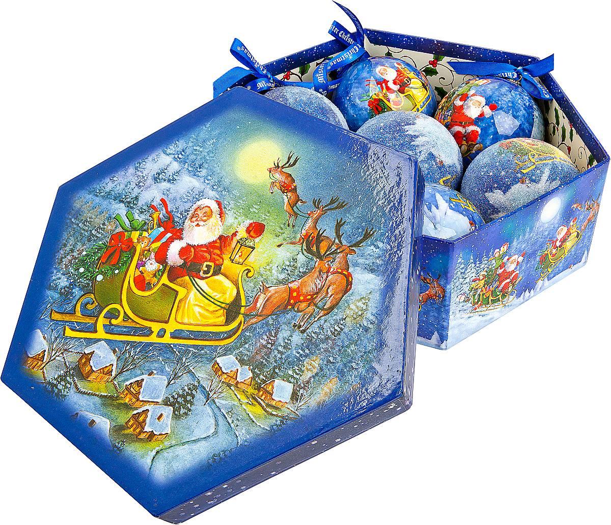 Набор новогодних подвесных украшений Mister Christmas Папье-маше, диаметр 7,5 см, 7 шт. PM-45-7PM-45-7Набор Mister Christmas Папье-маше состоит из 7 подвесных украшений ручной работы, изготовленные в технике папье-маше. Такие шары очень легкие, но в то же время удивительно прочные. На создание одной такой игрушки уходит несколько дней. И в результате получается настоящее произведение искусства! Все изделия оснащены атласной ленточкой с логотипом бренда Mister Christmas для подвешивания. Такие украшения станут превосходным подарком к Новому году, а так же дополнят коллекцию оригинальных новогодних елочных игрушек.