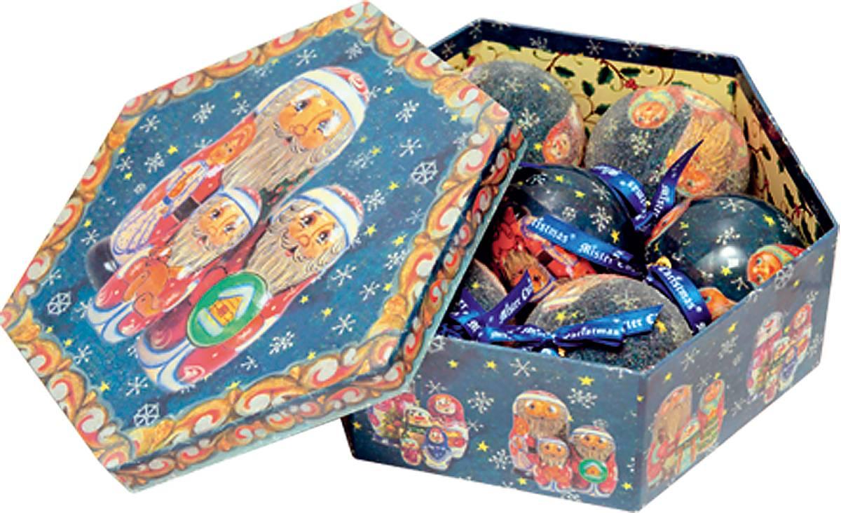Набор новогодних подвесных украшений Mister Christmas Папье-маше, диаметр 75 мм. PM-5-7PM-5-7