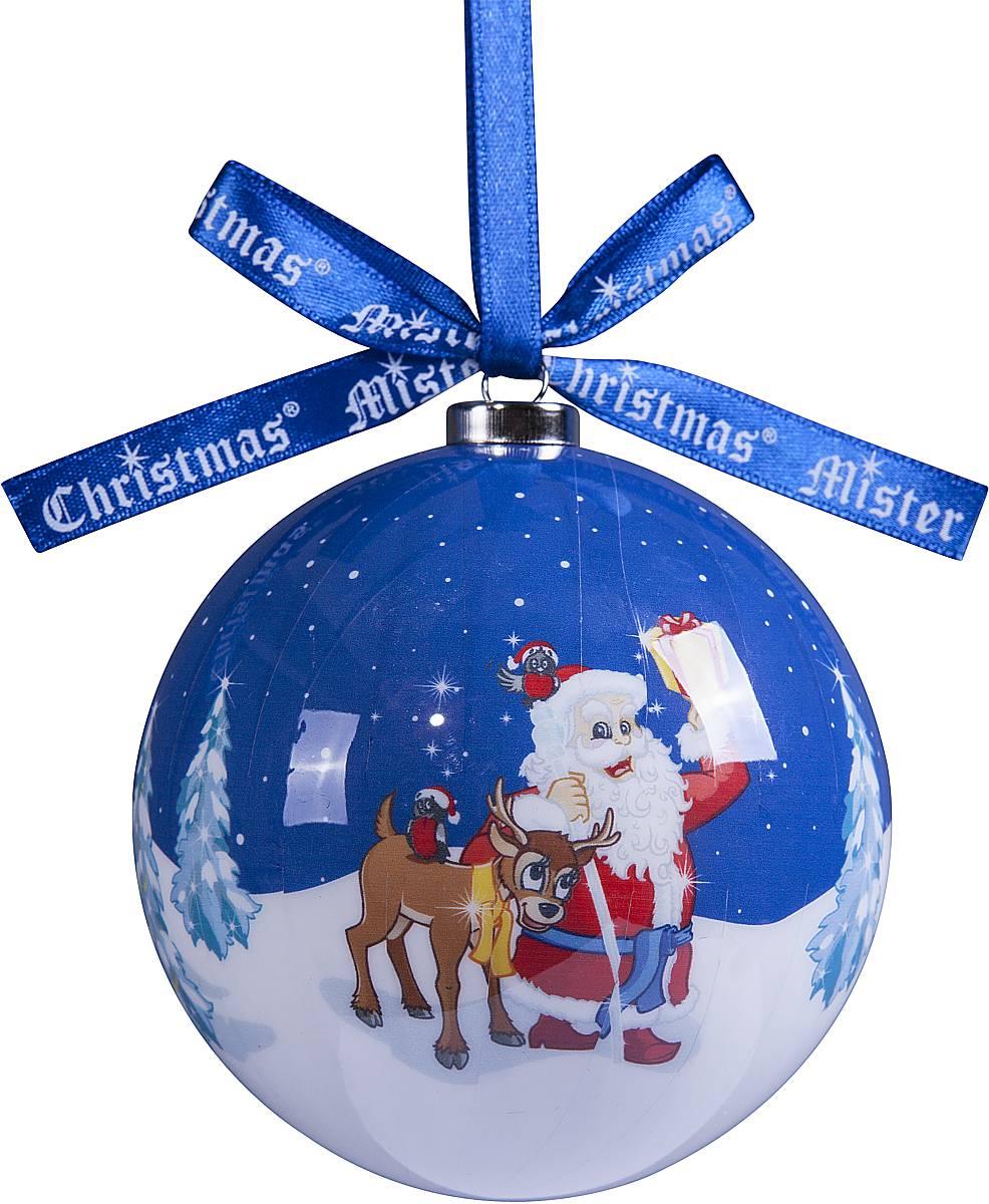 Украшение новогоднее подвесное Mister Christmas Папье-маше, диаметр 75 мм, цвет: синий. PM-52PM-52