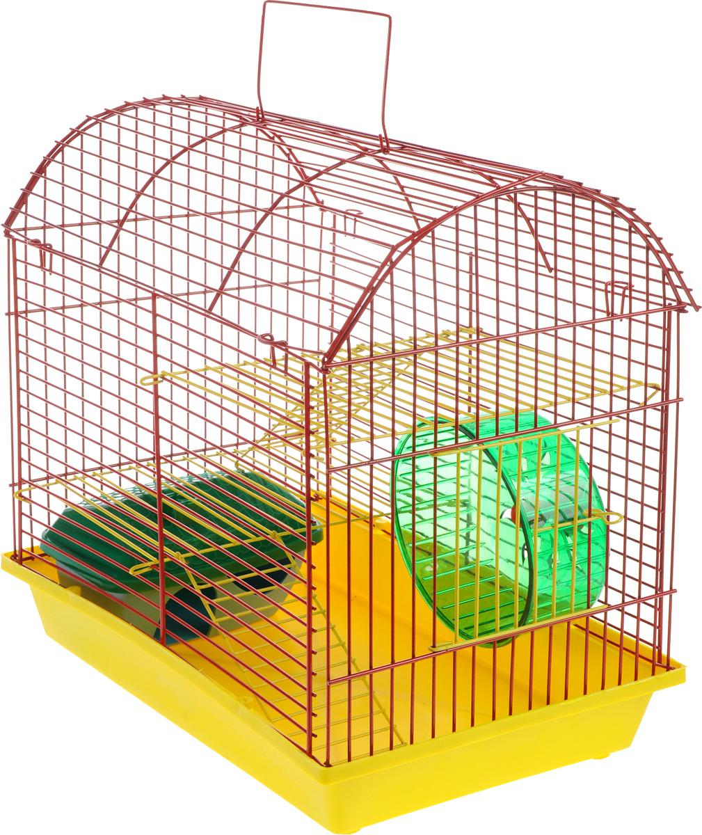 Клетка для грызунов ЗооМарк, 2-этажная, цвет: желтый поддон, красная решетка, желтые этажи, 37 х 23 х 35 см112жкЖККлетка ЗооМарк, выполненная из полипропилена и металла с эмалированным покрытием, подходит для мелких грызунов. Изделие двухэтажное, оборудовано колесом для подвижных игр и пластиковым домиком. Клетка имеет яркий поддон, удобна в использовании и легко чистится. Сверху имеется ручка для переноски. Такая клетка станет личным пространством и уютным домиком для маленького грызуна.