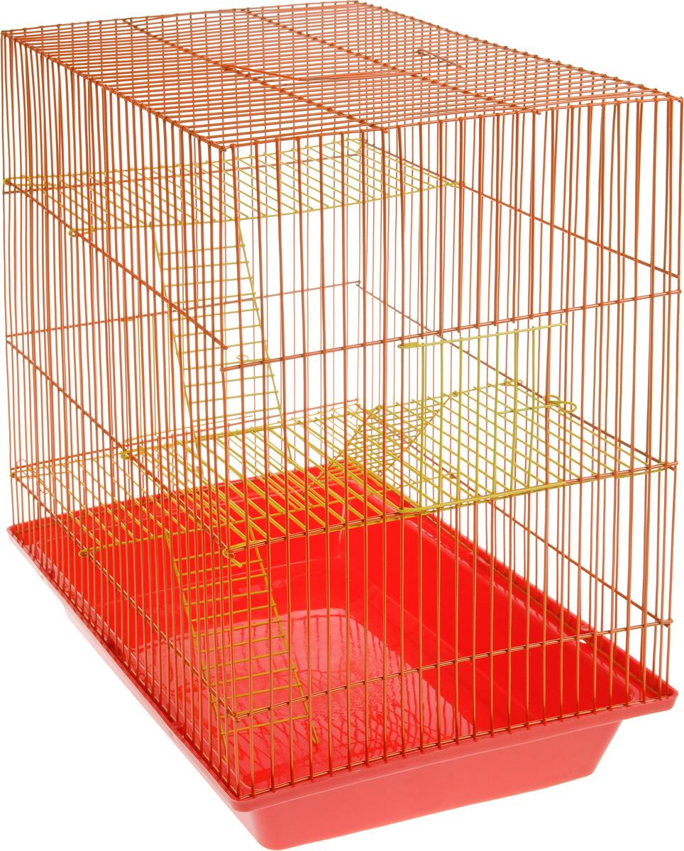 Клетка для грызунов ЗооМарк Гризли, 4-этажная, цвет: красный поддон, оранжевая решетка, желтые этажи, 41 х 30 х 50 см240жКОКлетка ЗооМарк Гризли, выполненная из полипропилена и металла, подходит для мелких грызунов. Изделие четырехэтажное. Клетка имеет яркий поддон, удобна в использовании и легко чистится. Сверху имеется ручка для переноски. Такая клетка станет уединенным личным пространством и уютным домиком для маленького грызуна.