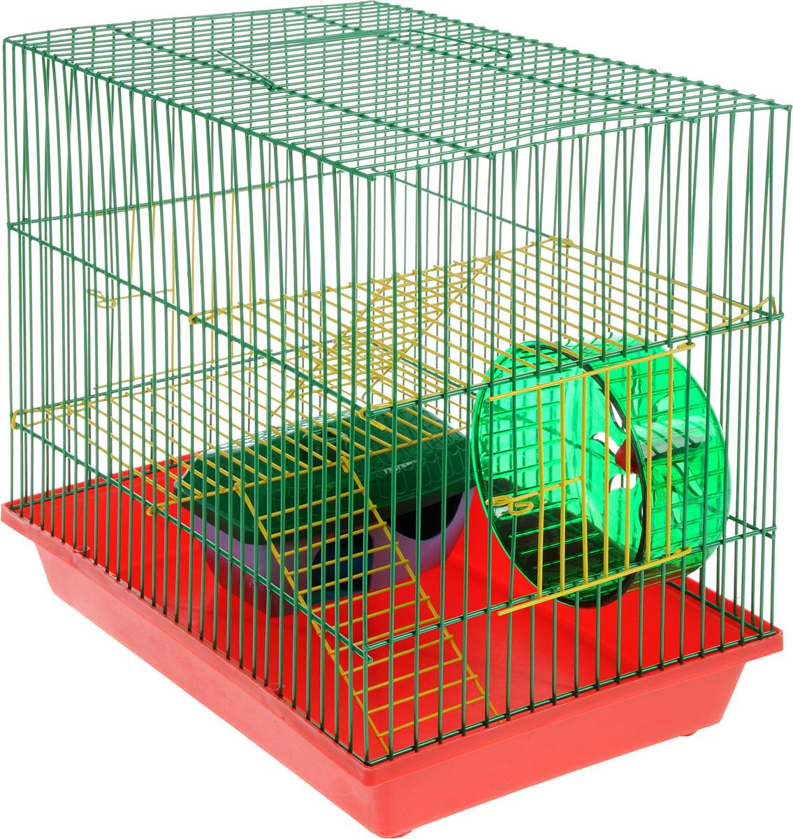 Клетка для грызунов ЗооМарк, 3-этажная, цвет: красный поддон, зеленая решетка, желтые этажи, 36 х 23 х 34,5 см. 135ж135жКЗКлетка ЗооМарк, выполненная из полипропилена и металла, подходит для мелких грызунов. Изделие трехэтажное, оборудовано колесом для подвижных игр и пластиковым домиком. Клетка имеет яркий поддон, удобна в использовании и легко чистится. Сверху имеется ручка для переноски. Такая клетка станет уединенным личным пространством и уютным домиком для маленького грызуна.