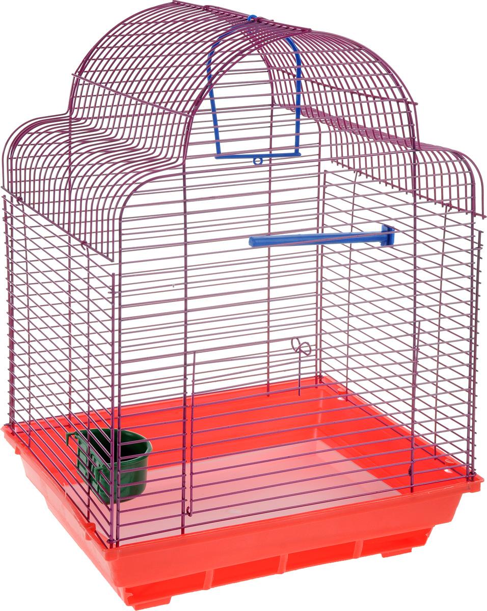 Клетка для птиц ЗооМарк Купола, цвет: красный поддон, фиолетовая решетка, 35 х 29 х 51 см460КФКлетка ЗооМарк Купола, выполненная из полипропилена и металла, предназначена для мелких птиц. Изделие состоит из большого поддона и решетки. Клетка снабжена металлической дверцей. В основании клетки находится малый поддон. Клетка удобна в использовании и легко чистится. Она оснащена жердочкой, кольцом для птицы, кормушкой и подвижной ручкой для удобной переноски. Комплектация: - клетка с поддоном, - малый поддон; - кормушка; - кольцо; - жердочка.