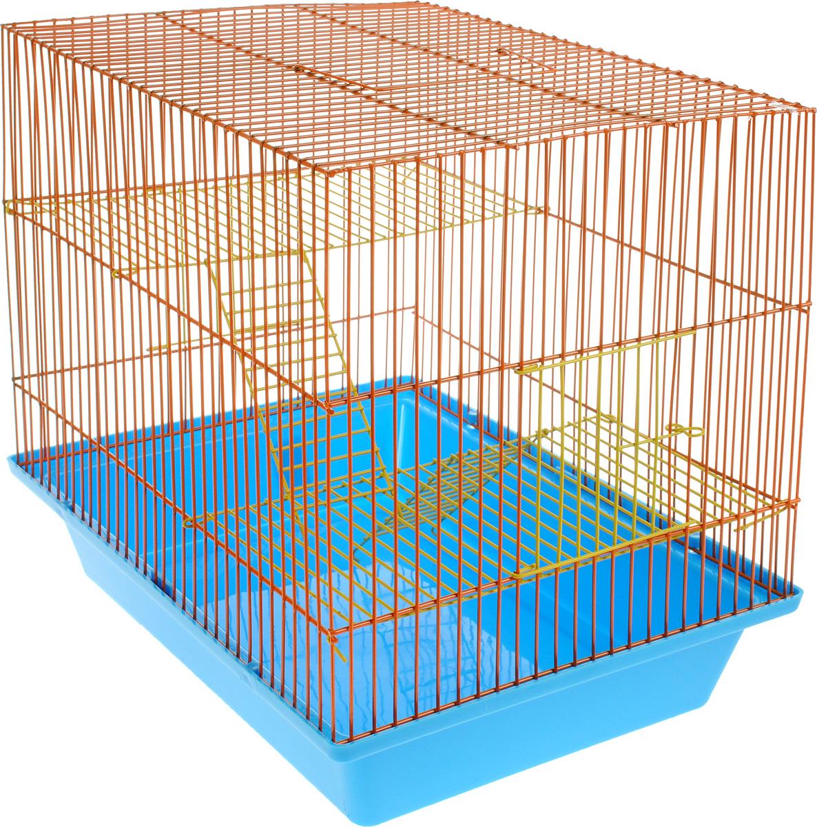 Клетка для грызунов ЗооМарк Гризли, 3-этажная, цвет: голубой поддон, оранжевая решетка, желтые этажи, 41 х 30 х 36 см. 230ж230жСОКлетка ЗооМарк Гризли, выполненная из полипропилена и металла, подходит для мелких грызунов. Изделие трехэтажное. Клетка имеет яркий поддон, удобна в использовании и легко чистится. Сверху имеется ручка для переноски. Такая клетка станет уединенным личным пространством и уютным домиком для маленького грызуна.