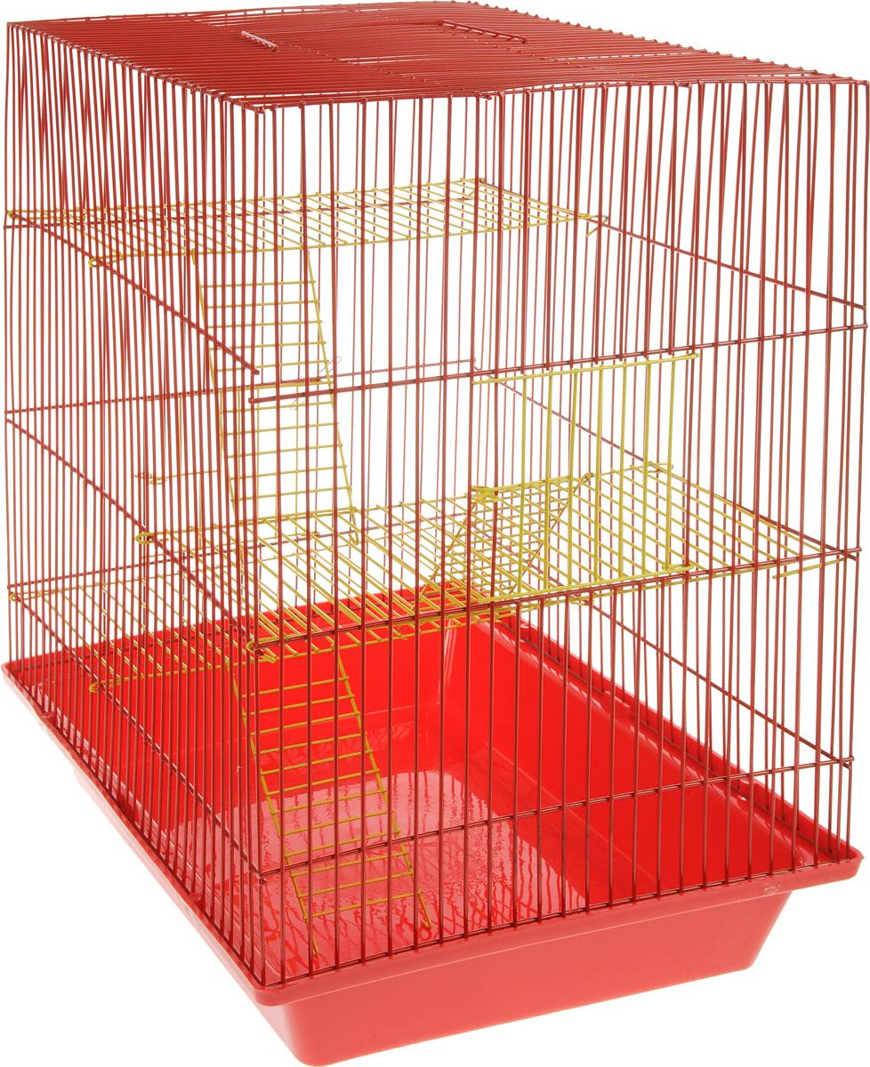 Клетка для грызунов ЗооМарк Гризли, 4-этажная, цвет: красный поддон, красная решетка, желтые этажи, 41 х 30 х 50 см240жКККлетка ЗооМарк Гризли, выполненная из полипропилена и металла, подходит для мелких грызунов. Изделие четырехэтажное. Клетка имеет яркий поддон, удобна в использовании и легко чистится. Сверху имеется ручка для переноски. Такая клетка станет уединенным личным пространством и уютным домиком для маленького грызуна.