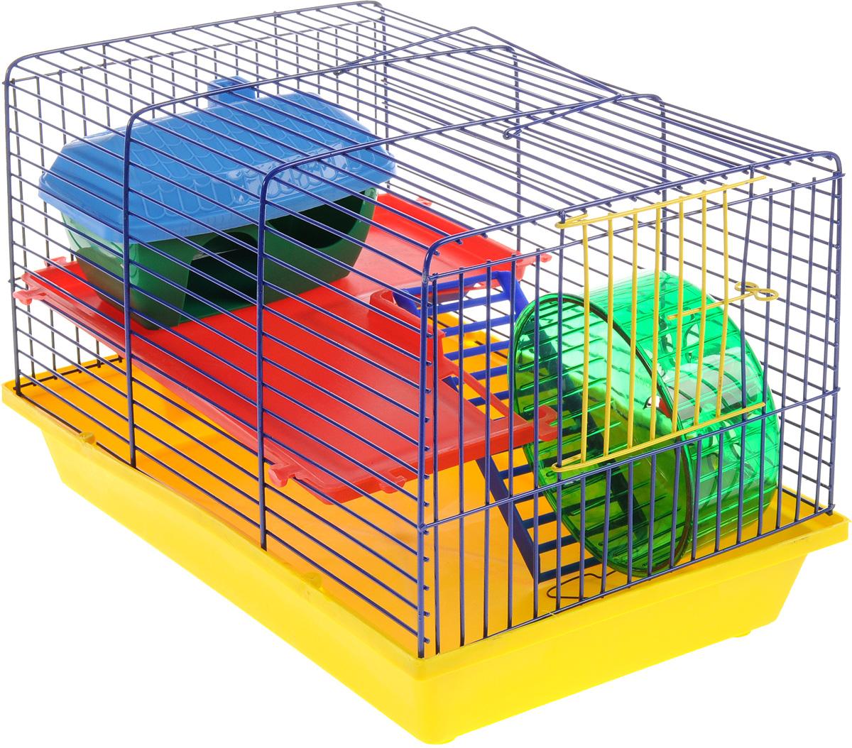 Клетка для грызунов ЗооМарк, 2-этажная, цвет: желтый поддон, синяя решетка, красный этаж, 36 х 23 х 24 см125ЖСДвухэтажная клетка Зоомарк, выполненная из полипропилена и металла, подходит для хомяков или других небольших грызунов. Она имеет яркий поддон, удобна в использовании и легко чистится. Сверху имеется ручка для переноски. Такая клетка станет уединенным личным пространством и уютным домиком для маленького грызуна.