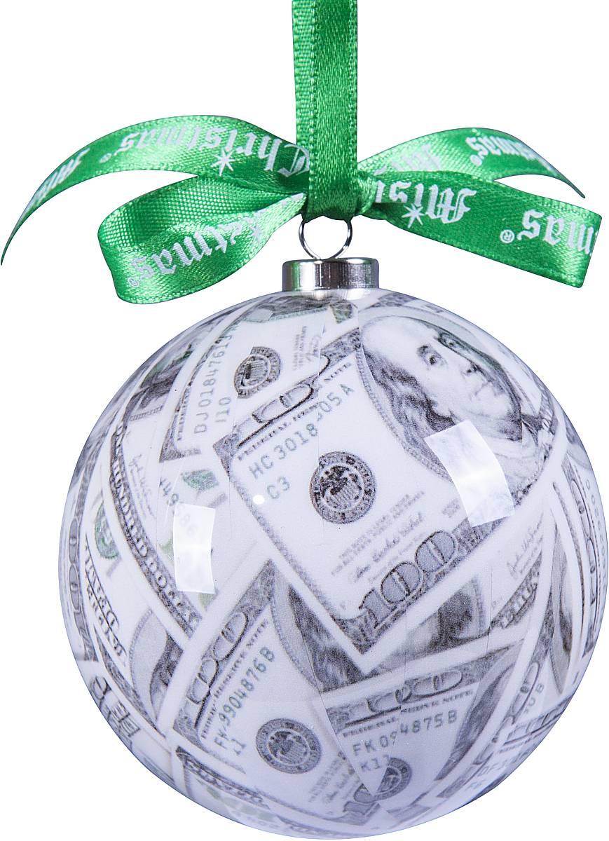 Украшение новогоднее подвесное Mister Christmas Папье-маше, диаметр 75 мм, цвет: серый. DOL-2DOL-2