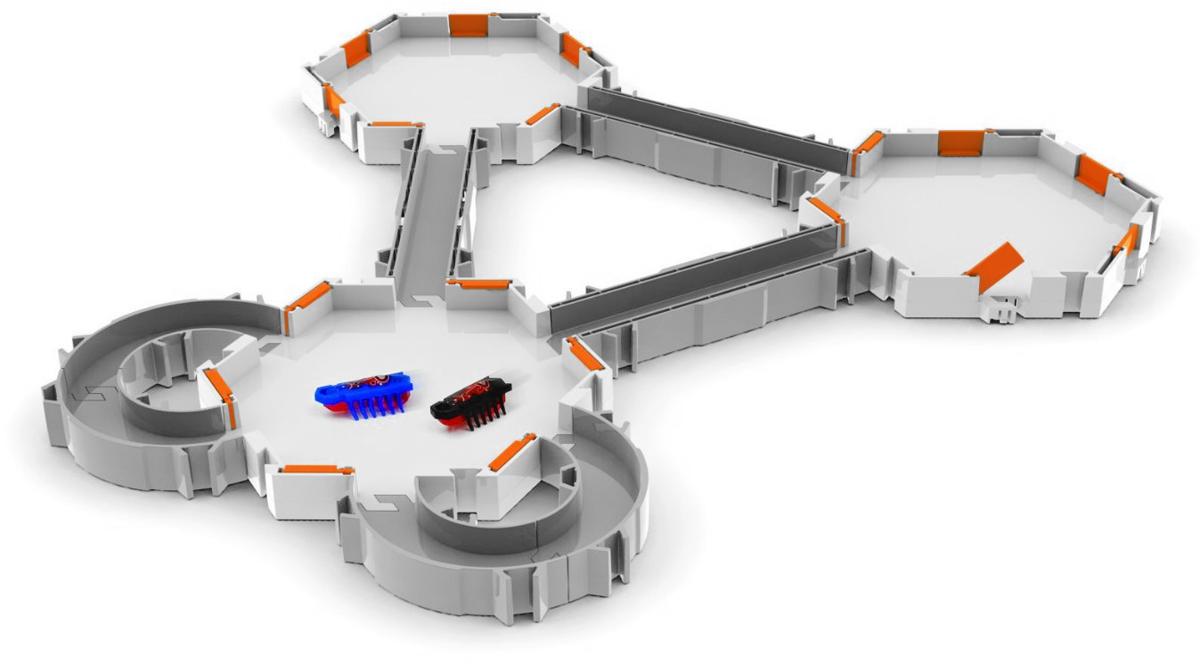 HexBug Игровой набор Nano Habitat440-1435/20048812Игровой набор HexBug Nano Habitat, состоящий из трех шестиугольных площадок, двух микро-роботов, прямых и угловых элементов, представляет собой увлекательную трассу для роботов и дарит безграничный простор для игры. Элементы, входящие в набор, соединяются между собой различными способами, что позволяет собрать его каждый раз по-разному. Микро-роботы, входящие в комплект, чрезвычайно редкой расцветки - отдельно такие роботы не продаются! Поверхность элементов набора создана таким образом, чтобы роботы предельно быстро перемещались по лабиринту. Высота стенок прямых, угловых и шестиугольных участков оптимальна - микро-робот не сможет покинуть игровое пространство. Набор совместим со всеми наборами Hexbug. Этот маленький мир роботов, который вы сами создадите, всегда можно будет изменить и дополнить! Все элементы набора выполнены из прочного и безопасного пластика. Каждый микро-робот работает от одной батарейки напряжением 1,5V типа LR 44 (товар комплектуется...