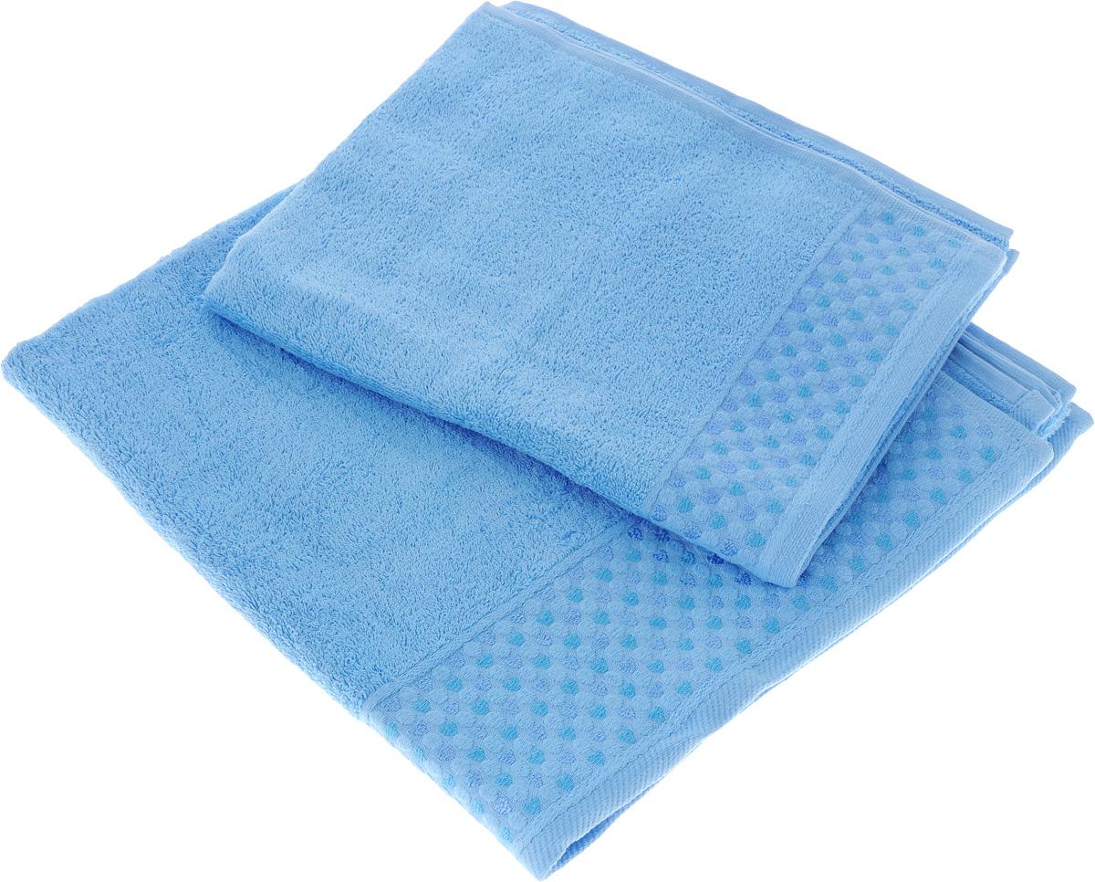 Набор полотенец Tete-a-Tete Сердечки, цвет: голубой, 2 штУНП-104-03Набор Tete-a-Tete Сердечки состоит из двух махровых полотенец, выполненных из натурального 100% хлопка. Бордюр полотенец декорирован сердечками и горошком. Изделия мягкие, отлично впитывают влагу, быстро сохнут, сохраняют яркость цвета и не теряют форму даже после многократных стирок. Полотенца Tete-a-Tete Сердечки очень практичны и неприхотливы в уходе. Они легко впишутся в любой интерьер благодаря своей нежной цветовой гамме.