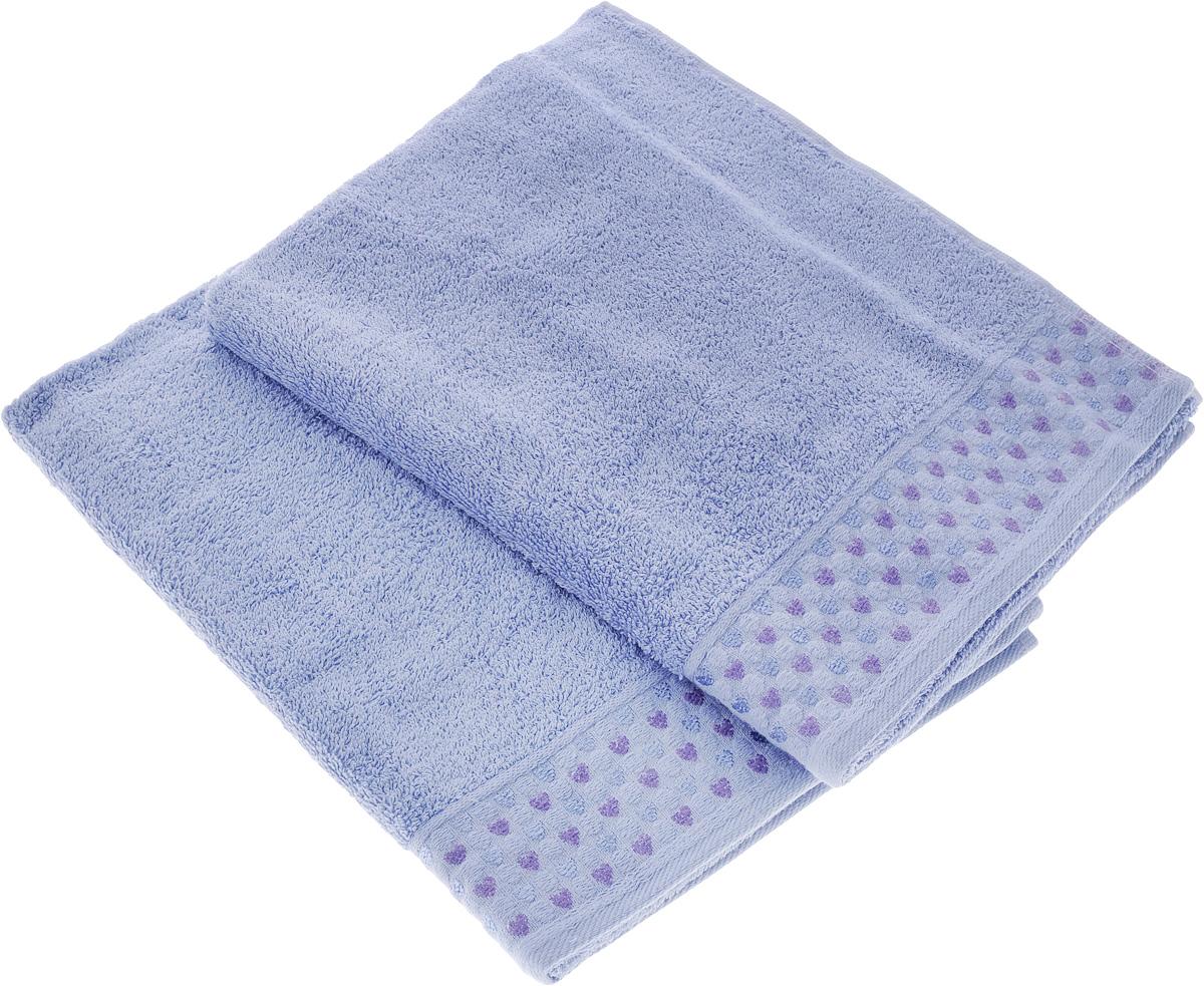 Набор полотенец Tete-a-Tete Сердечки, цвет: сиреневый, 50 х 90 см, 2 штУП-007-05-2Набор Tete-a-Tete Сердечки состоит из двух махровых полотенец, выполненных из натурального 100% хлопка. Бордюр полотенец декорирован сердечками и горошком. Изделия мягкие, отлично впитывают влагу, быстро сохнут, сохраняют яркость цвета и не теряют форму даже после многократных стирок. Полотенца Tete-a-Tete Сердечки очень практичны и неприхотливы в уходе. Они легко впишутся в любой интерьер благодаря своей нежной цветовой гамме.