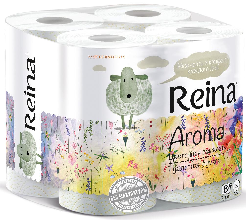 Туалетная бумага Reina Aroma. Цветочная свежесть, ароматизированная, 2-слойная, 8 рулоновPUL-000527