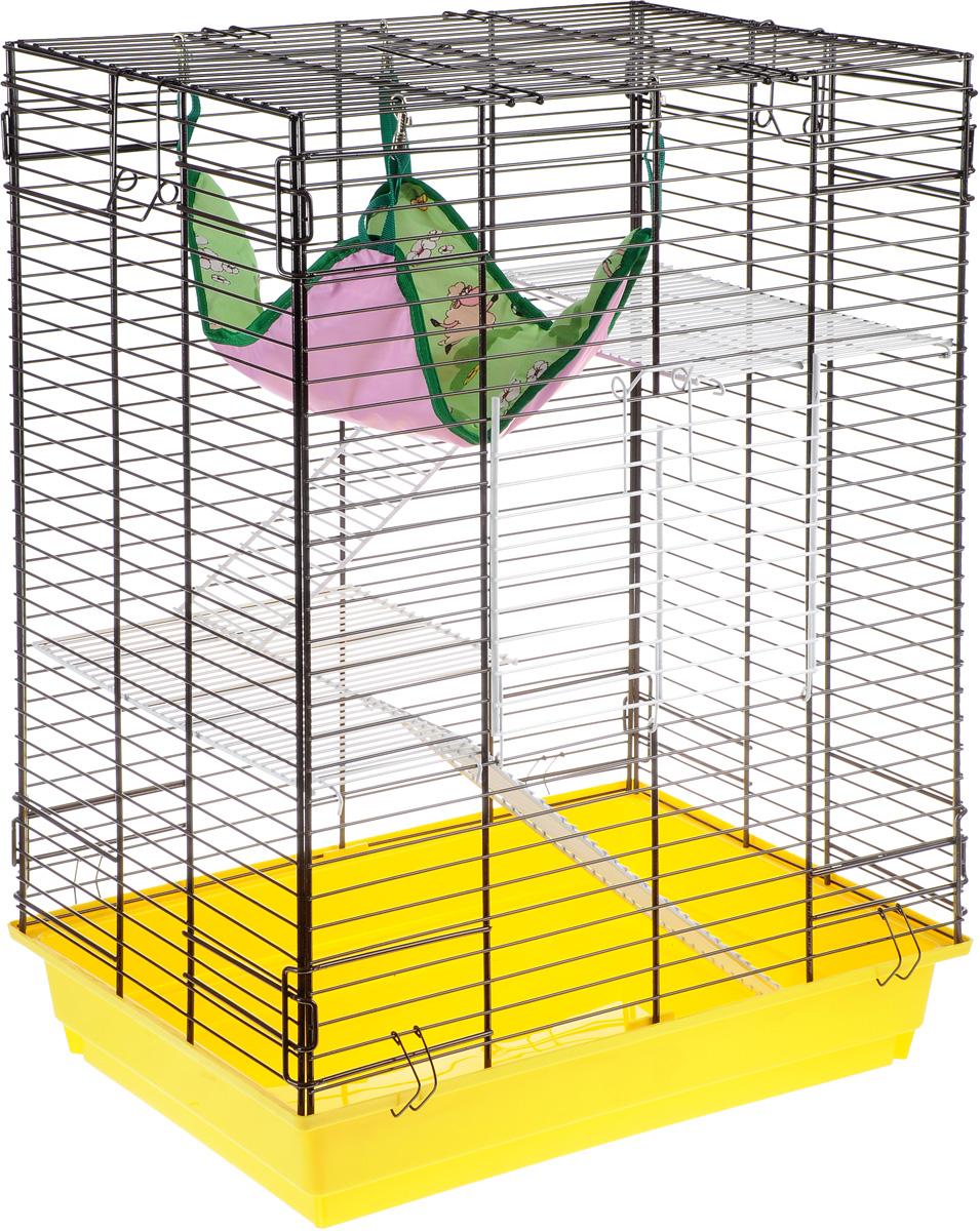 Клетка для шиншилл и хорьков ЗооМарк, цвет: желтый поддон, коричневая решетка, 59 х 41 х 79 см725жкЖКоКлетка ЗооМарк, выполненная из полипропилена и металла, подходит для шиншилл и хорьков. Большая клетка оборудована длинными лестницами и гамаком. Изделие имеет яркий поддон, удобно в использовании и легко чистится. Сверху имеется ручка для переноски. Такая клетка станет уединенным личным пространством и уютным домиком для грызуна.