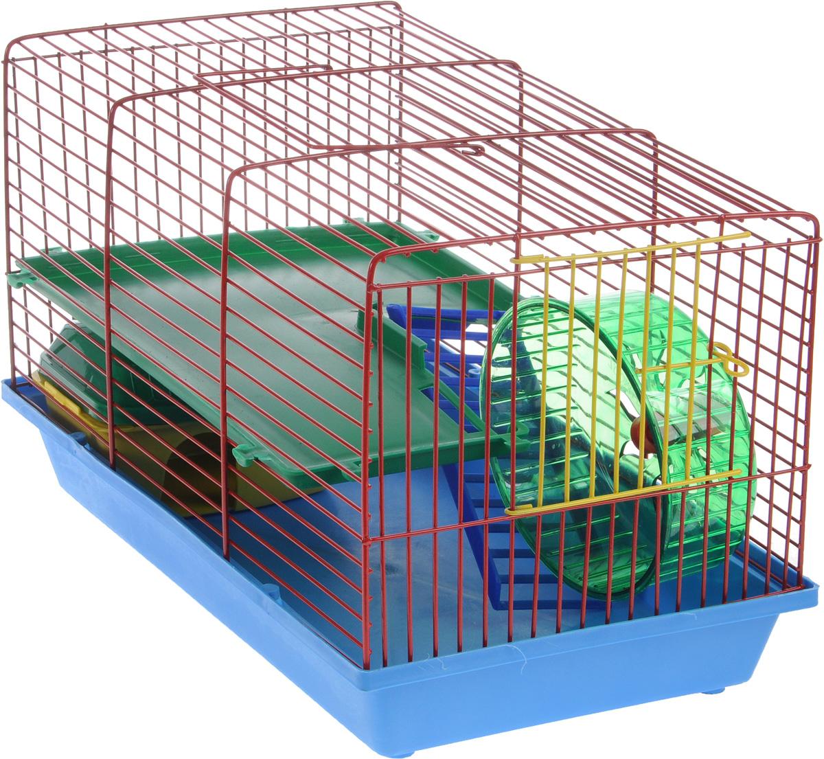 Клетка для грызунов ЗооМарк, 2-этажная, цвет: синий поддон, красная решетка, зеленый этаж, 36 х 23 х 24 см125СККлетка ЗооМарк, выполненная из пластика и металла, предназначена для мелких грызунов. Изделие двухэтажное, оборудовано колесом для подвижных игр и пластиковым домиком. Клетка имеет яркий поддон, удобна в использовании и легко чистится. Сверху имеется ручка для переноски. Такая клетка станет уединенным личным пространством и уютным домиком для маленького грызуна.