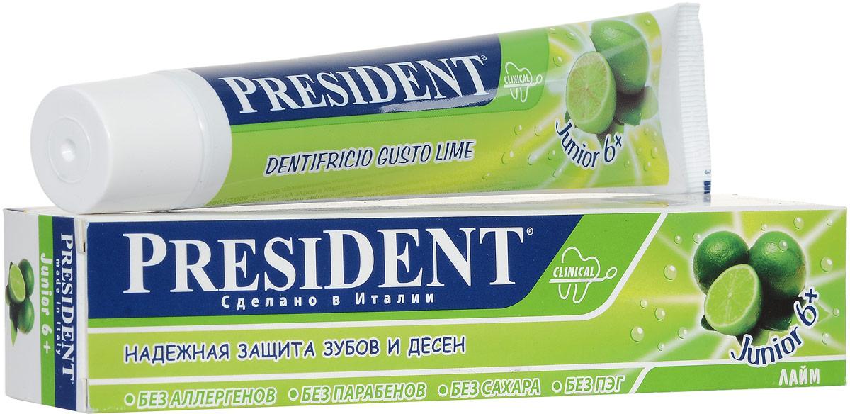 Зубная паста President Junior 6+, детская, со вкусом лайма, 50 мл4310-501118Детская зубная паста President Junior 6+ обеспечивает деликатный и эффективный уход за молочными и постоянными зубами. Стимулирует процессы реминерализации, предотвращает разрушение эмали и развитие кариеса. Освежающий аромат лайма превращает процесс чистки зубов в удовольствие. Не содержит сахар, парабены, лаурилсульфат натрия, ПЭГ.