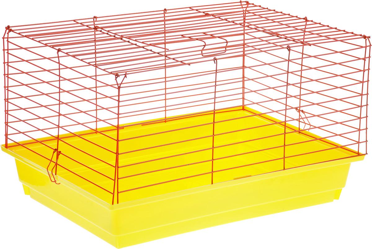 Клетка для кролика ЗооМарк, цвет: желтый поддон, красная решетка, 60 х 40 х 35 см620ЖККлассическая клетка ЗооМарк со сплошным дном станет уединенным личным пространством и уютным домиком для кролика. Изделие выполнено из металла и пластика. Клетка надежно закрывается на защелки. Легко чистится. Для более удобной транспортировки клетку можно сложить.