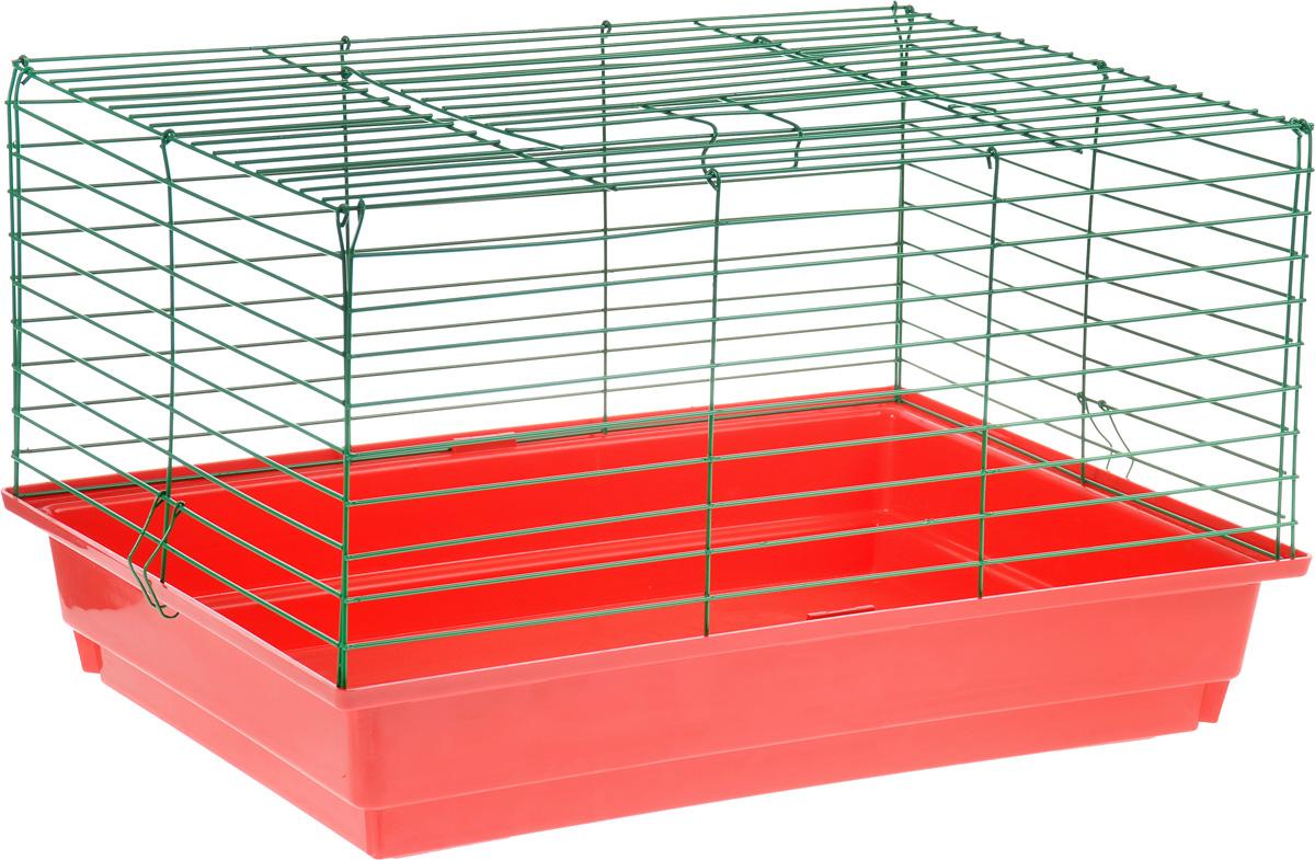 Клетка для кролика ЗооМарк, цвет: красный поддон, зеленая решетка, 60 х 40 х 35 см620КЗКлассическая клетка ЗооМарк со сплошным дном станет уединенным личным пространством и уютным домиком для кролика. Изделие выполнено из металла и пластика. Клетка надежно закрывается на защелки. Легко чистится. Для более удобной транспортировки клетку можно сложить.