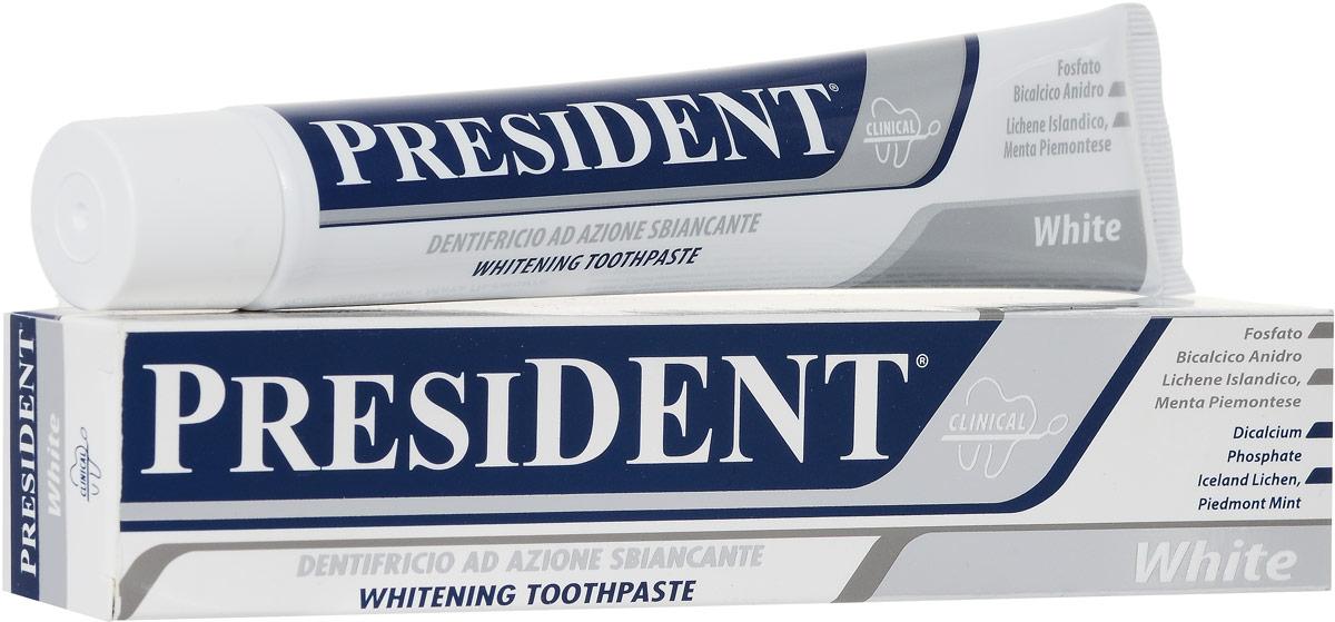 Зубная паста President White, 75 мл4310-502054Зубная паста President White способствует реминерализации эмали наряду с отбеливанием. Бережно полирует эмаль, защищает от темного налета, нейтрализует запах табака. Подходит для ежедневного применения, не разрушает эмаль зубов. Не содержит пероксида водорода и карбамида, жестких абразивных компонентов, разрушающих ферментов. Не содержит агрессивных антибактериальных агентов.