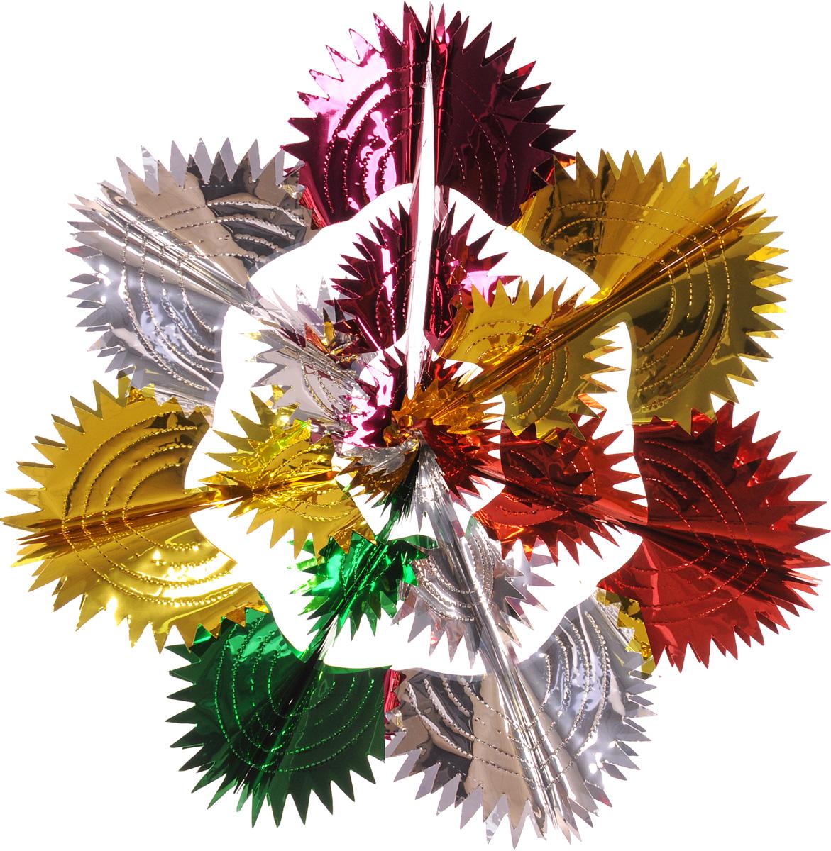 Украшение новогоднее подвесное Winter Wings Сияние, диаметр 60 смN09178Новогоднее подвесное украшение Winter Wings Сияние, выполненное из ПВХ в виде разноцветной ажурной снежинки, прекрасно подойдет для праздничного декора дома. С помощью специальной петельки украшение можно подвесить в любом понравившемся вам месте. Легко складывается и раскладывается. Новогодние украшения несут в себе волшебство и красоту праздника. Они помогут вам украсить дом к предстоящим праздникам и оживить интерьер по вашему вкусу. Создайте в доме атмосферу тепла, веселья и радости, украшая его всей семьей.