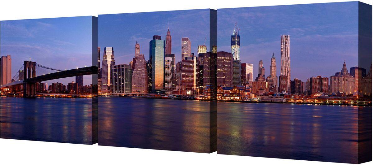 Картина модульная Toplight Город, 150 х 50 см. TL-M2005TL-M2005Модульная картина Toplight Город выполнена из синтетического полотна, подрамник из МДФ. Картина состоит из трех частей и выглядит очень аккуратно и эстетично благодаря такому способу оформления как галерейная натяжка. Подрамник исключает провисание полотна. Современные технологии, уникальное оборудование и цифровая печать, используемые в производстве, делают постер устойчивым к выцветанию и обеспечивают исключительное качество произведений. Благодаря наличию необходимых креплений в комплекте установка не займет много времени. Модульная картина - это прекрасная возможность создать яркий акцент при оформлении любого помещения. Изделие обязательно привлечет внимание и подарит немало приятных впечатлений своим обладателям. Правила ухода: можно протирать сухой, мягкой тканью. Рекомендованное расстояние между сегментами: 2 см. Толщина подрамника: 3 см.