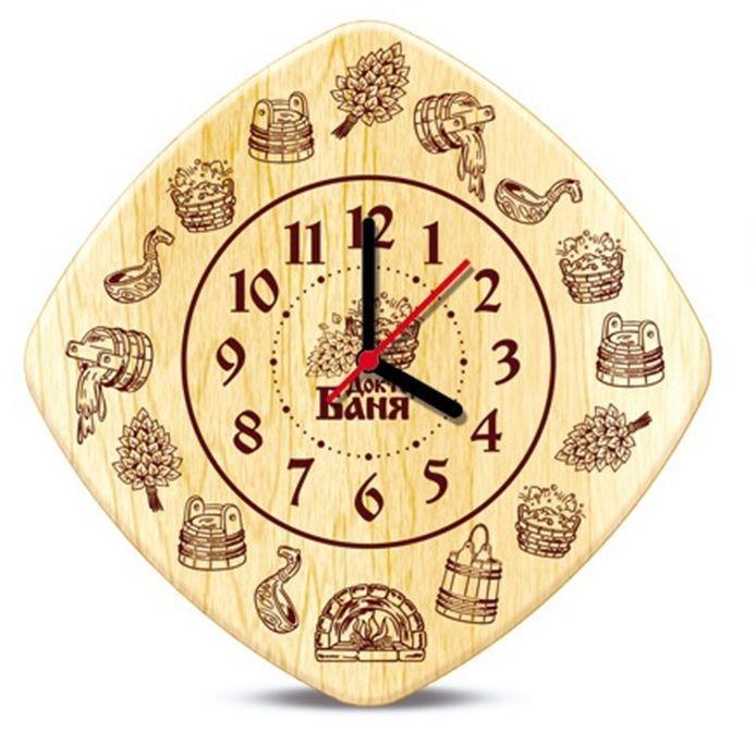 Часы настенные Доктор баня для бани и сауны. 905242905242Настенные кварцевые часы Доктор баня, выполненные из дерева, своим дизайном подчеркнут оригинальность интерьера вашей бани или сауны. Панель часов декорирована изображением различных банных принадлежностей. Часы имеют три стрелки - часовую, минутную и секундную. Такие часы послужат отличным подарком для ценителя стильных и оригинальных вещей. Характеристики: Материал: дерево, металл. Размер часов: 20 см х 20 см х 2 см. Размер упаковки: 23 см х 26 см х 6 см. Артикул: 905242. Рекомендуется докупить батарейку типа АА (в комплект не входит).