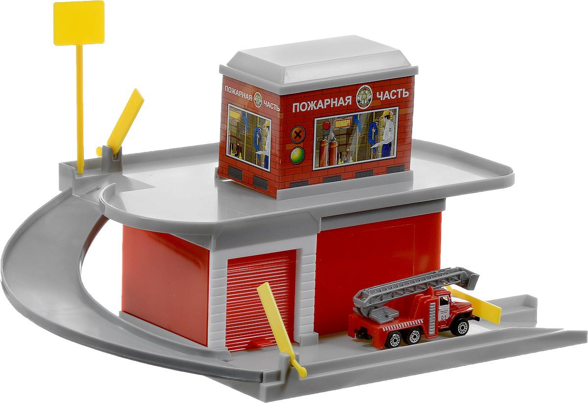 ТехноПарк Игровой набор Пожарная часть 2201B-R2201B-RИгровой набор ТехноПарк Пожарная часть состоит из ярких аксессуаров для сборки и игры в пожарную часть: двухэтажное здание со съездом и гаражом, а также модель пожарной машины. Все элементы набора выполнены из безопасных для ребенка материалов. Пожарная часть имеет 2 уровня. Чтобы проехать на второй уровень, пожарная машинка, должна преодолеть два шлагбаума. Бокс гаража закрывается поднимающимися воротами. Профессия пожарного всегда выглядит в глазах ребенка очень героичной и отважной, поэтому малыши обожают представлять себя в роли борцов с огнем.