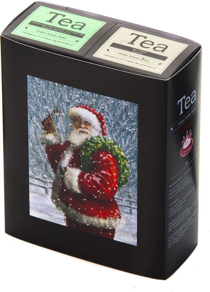 Подарочный набор Royal T-Stick: Earl Grey черный чай и Mint Green Tea зеленый чай в стиках, 30 шт1612101Подарочный набор из 2- пачек чая премиум класса,упакован в коробку для транспортировки. Чай Ассам с бергамотом порадует вас насыщенным ,янтарно -красным цветом, терпким ароматом бергамота и пряным, солодово-медовым вкусом . Чай обладает тонизирующим свойством. Натуральный зеленый чай с ароматом мяты порадует вас своим тонким и нежным вкусом. Способствует расщеплению жиров и успокаивает нервную систему. Чай упакован в пищевую фольгу, которую можно использовать вместо ложечки для размешивания сахара. Опустите стик в кипяток, оставьте на 3 минуты, размешайте кусочек сахара. Достаньте стик из стакана, потрясите им о край стакана, так, чтобы стекли последние капли, и положите рядом. Вся влага останется внутри стика.Прекрасный подарок родным и близким,и отличный повод удивить коллег по работе и друзей, внедряя новую, элегантную культуру чаепития!