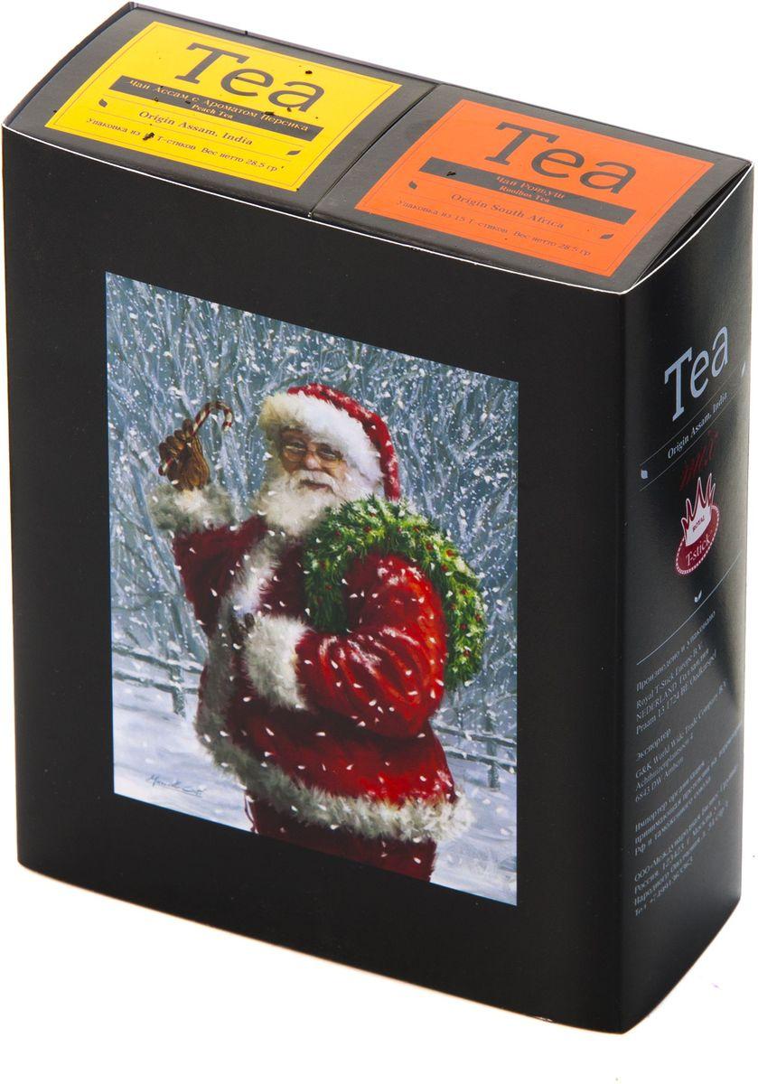 Подарочный набор Royal T-Stick: Rooibos Tea красный чай и Peach Tea черный чай в стиках, 30 шт1612102Подарочный набор из 2- пачек чая премиум класса,упакован в коробку для транспортировки. Ройбош натуральный чай из листьев южноафриканского кустарника. Обладает сладковатым вкусом, с едва уловимыми ореховыми нотами. Чай обладает тонизирующим и бодрящим свойством. Снижает аппетит.Рекомендуется людям контролирующим свою массу тела. Натуральный черный чай с ароматом персика порадует вас золотисто-медовым цветом, тонким ароматом персика и изысканным вкусом , который создается путем смешивания реальных кусочков персика и индийского чая из штата Ассам. Чай упакован в пищевую фольгу, которую можно использовать вместо ложечки для размешивания сахара. Опустите стик в кипяток, оставьте на 3 минуты, размешайте кусочек сахара. Достаньте стик из стакана, потрясите им о край стакана, так, чтобы стекли последние капли, и положите рядом. Вся влага останется внутри стика.Прекрасный подарок родным и близким,и отличный повод удивить коллег по работе и друзей, внедряя новую, элегантную культуру чаепития!