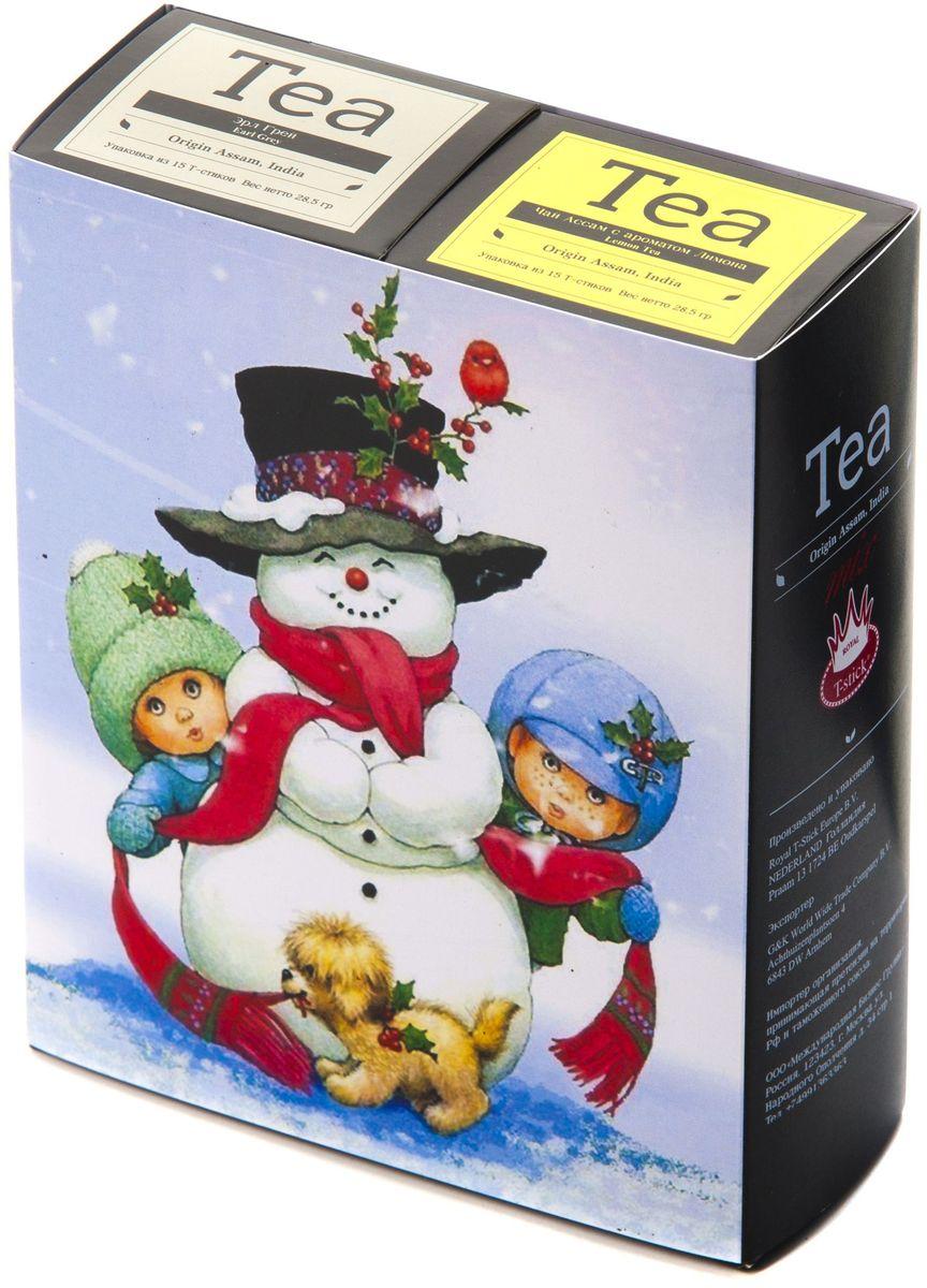 Подарочный набор Royal T-Stick: Earl Grey черный чай и Lemon Tea черный чай в стиках, 30 шт1612111Подарочный набор из 2- пачек чая премиум класса,упакован в коробку для транспортировки. Чай Ассам с бергамотом порадует вас насыщенным ,янтарно -красным цветом, терпким ароматом бергамота и пряным, солодово-медовым вкусом . Чай обладает тонизирующим свойством. Натуральный черный чай с ароматом лимона порадует вас золотисто-медовым цветом, тонким ароматом лимона, который создается путем смешивания реального лимона и индийского чая из штата Ассам. Чай упакован в пищевую фольгу, которую можно использовать вместо ложечки для размешивания сахара. Опустите стик в кипяток, оставьте на 3 минуты, размешайте кусочек сахара. Достаньте стик из стакана, потрясите им о край стакана, так, чтобы стекли последние капли, и положите рядом. Вся влага останется внутри стика.Прекрасный подарок родным и близким,и отличный повод удивить коллег по работе и друзей, внедряя новую, элегантную культуру чаепития!