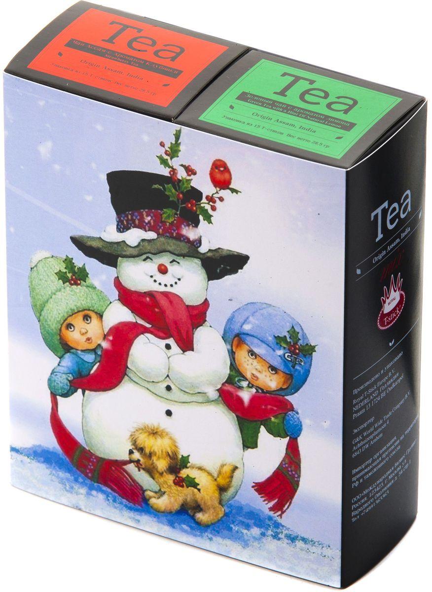Подарочный набор Royal T-Stick: Green Tea зеленый чай и Strawberry Tea черный чай в стиках, 30 шт1612112Подарочный набор из 2- пачек чая премиум класса,упакован в коробку для транспортировки. Зеленый чай с ароматом лимона порадует Вас своим золотистым цветом ,нежным ароматом лимона и освежающим послевкусием.Обогащение зеленого чая ароматом лимона усиливает полезные свойства природных антиоксидантов. Натуральный черный чай с ароматом клубники порадует вас золотисто-медовым цветом, тонким ароматом клубники, который создается путем смешивания реальных кусочков клубники и индийского чая из штата Ассам. Чай упакован в пищевую фольгу, которую можно использовать вместо ложечки для размешивания сахара. Опустите стик в кипяток, оставьте на 3 минуты, размешайте кусочек сахара. Достаньте стик из стакана, потрясите им о край стакана, так, чтобы стекли последние капли, и положите рядом. Вся влага останется внутри стика.Прекрасный подарок родным и близким,и отличный повод удивить коллег по работе и друзей, внедряя новую, элегантную культуру чаепития!