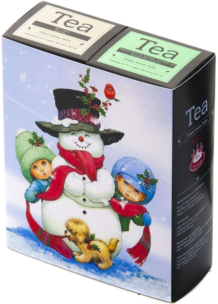 Подарочный набор Royal T-Stick: Earl Grey черный чай и Mint Green Tea зеленый чай в стиках, 30 шт1612113Подарочный набор из 2- пачек чая премиум класса,упакован в коробку для транспортировки. Чай Ассам с бергамотом порадует вас насыщенным ,янтарно -красным цветом, терпким ароматом бергамота и пряным, солодово-медовым вкусом . Чай обладает тонизирующим свойством. Натуральный зеленый чай с ароматом мяты порадует вас своим тонким и нежным вкусом. Способствует расщеплению жиров и успокаивает нервную систему. Чай упакован в пищевую фольгу, которую можно использовать вместо ложечки для размешивания сахара. Опустите стик в кипяток, оставьте на 3 минуты, размешайте кусочек сахара. Достаньте стик из стакана, потрясите им о край стакана, так, чтобы стекли последние капли, и положите рядом. Вся влага останется внутри стика.Прекрасный подарок родным и близким,и отличный повод удивить коллег по работе и друзей, внедряя новую, элегантную культуру чаепития!
