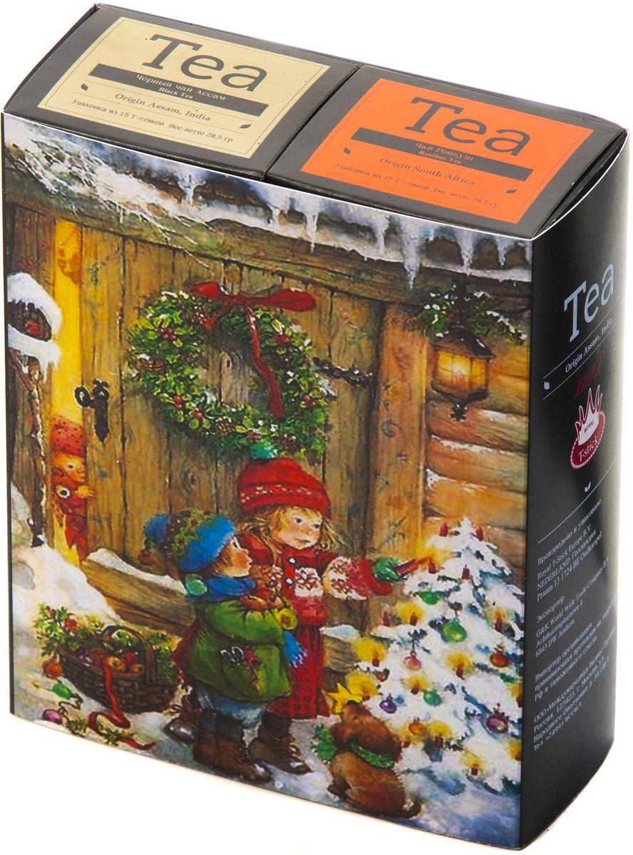 Подарочный набор Royal T-Stick: Rooibos Tea красный чай и High Tea черный чай в стиках, 30 шт1612116Подарочный набор из 2- пачек чая премиум класса,упакован в коробку для транспортировки. Ройбош натуральный чай из листьев южноафриканского кустарника. Обладает сладковатым вкусом, с едва уловимыми ореховыми нотами. Чай обладает тонизирующим и бодрящим свойством. Снижает аппетит.Рекомендуется людям контролирующим свою массу тела. Чай Ассам порадует вас насыщенным ,янтарно -красным цветом, терпким ароматом и пряным, солодово-медовым вкусом . Чай упакован в пищевую фольгу, которую можно использовать вместо ложечки для размешивания сахара. Опустите стик в кипяток, оставьте на 3 минуты, размешайте кусочек сахара. Достаньте стик из стакана, потрясите им о край стакана, так, чтобы стекли последние капли, и положите рядом. Вся влага останется внутри стика.Прекрасный подарок родным и близким,и отличный повод удивить коллег по работе и друзей, внедряя новую, элегантную культуру чаепития!