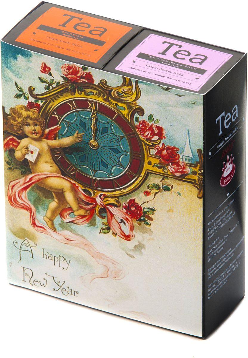 Подарочный набор Royal T-Stick: Rooibos Tea красный чай и Forest Fruits Tea черный чай в стиках, 30 шт1612119Подарочный набор из 2- пачек чая премиум класса,упакован в коробку для транспортировки. Ройбош натуральный чай из листьев южноафриканского кустарника. Обладает сладковатым вкусом, с едва уловимыми ореховыми нотами. Чай обладает тонизирующим и бодрящим свойством. Снижает аппетит.Рекомендуется людям контролирующим свою массу тела. Чай Асам с ароматом лесных ягод порадует Вас своим сладким фруктовым вкусом и ароматом лесных ягод и фруктов. Богат антиоксидантами, способствующих нейтрализации токсинов в нашем организме. Чай упакован в пищевую фольгу, которую можно использовать вместо ложечки для размешивания сахара. Опустите стик в кипяток, оставьте на 3 минуты, размешайте кусочек сахара. Достаньте стик из стакана, потрясите им о край стакана, так, чтобы стекли последние капли, и положите рядом. Вся влага останется внутри стика.Прекрасный подарок родным и близким,и отличный повод удивить коллег по работе и друзей, внедряя новую, элегантную культуру чаепития!