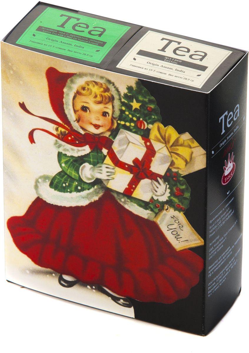 Подарочный набор Royal T-Stick: Green Tea зеленый чай и Earl Grey черный чай в стиках, 30 шт1612203Подарочный набор из 2- пачек чая премиум класса,упакован в коробку для транспортировки. Зеленый чай с ароматом лимона порадует Вас своим золотистым цветом ,нежным ароматом лимона и освежающим послевкусием.Обогащение зеленого чая ароматом лимона усиливает полезные свойства природных антиоксидантов. Чай Ассам с бергамотом порадует вас насыщенным ,янтарно -красным цветом, терпким ароматом бергамота и пряным, солодово-медовым вкусом . Чай обладает тонизирующим свойством. Чай упакован в пищевую фольгу, которую можно использовать вместо ложечки для размешивания сахара. Опустите стик в кипяток, оставьте на 3 минуты, размешайте кусочек сахара. Достаньте стик из стакана, потрясите им о край стакана, так, чтобы стекли последние капли, и положите рядом. Вся влага останется внутри стика.Прекрасный подарок родным и близким,и отличный повод удивить коллег по работе и друзей, внедряя новую, элегантную культуру чаепития!