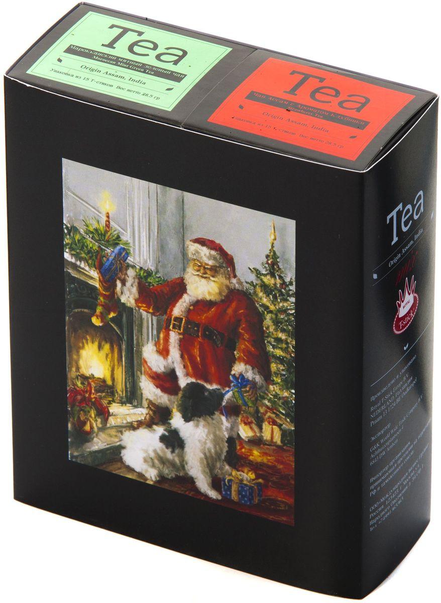 Подарочный набор Royal T-Stick: Mint Green Tea зеленый чай и Strawberry Tea черный чай в стиках, 30 шт1612302Подарочный набор из 2- пачек чая премиум класса,упакован в коробку для транспортировки. Натуральный зеленый чай с ароматом мяты порадует вас своим тонким и нежным вкусом. Способствует расщеплению жиров и успокаивает нервную систему. Натуральный черный чай с ароматом клубники порадует вас золотисто-медовым цветом, тонким ароматом клубники, который создается путем смешивания реальных кусочков клубники и индийского чая из штата Ассам. Чай упакован в пищевую фольгу, которую можно использовать вместо ложечки для размешивания сахара. Опустите стик в кипяток, оставьте на 3 минуты, размешайте кусочек сахара. Достаньте стик из стакана, потрясите им о край стакана, так, чтобы стекли последние капли, и положите рядом. Вся влага останется внутри стика.Прекрасный подарок родным и близким,и отличный повод удивить коллег по работе и друзей, внедряя новую, элегантную культуру чаепития!