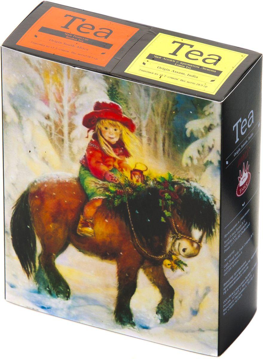 Подарочный набор Royal T-Stick: Rooibos Tea красный чай и Lemon Tea черный чай в стиках, 30 шт1612602Подарочный набор из 2- пачек чая премиум класса,упакован в коробку для транспортировки. Ройбош натуральный чай из листьев южноафриканского кустарника. Обладает сладковатым вкусом, с едва уловимыми ореховыми нотами. Чай обладает тонизирующим и бодрящим свойством. Снижает аппетит.Рекомендуется людям контролирующим свою массу тела. Натуральный черный чай с ароматом лимона порадует вас золотисто-медовым цветом, тонким ароматом лимона, который создается путем смешивания реального лимона и индийского чая из штата Ассам. Чай упакован в пищевую фольгу, которую можно использовать вместо ложечки для размешивания сахара. Опустите стик в кипяток, оставьте на 3 минуты, размешайте кусочек сахара. Достаньте стик из стакана, потрясите им о край стакана, так, чтобы стекли последние капли, и положите рядом. Вся влага останется внутри стика.Прекрасный подарок родным и близким,и отличный повод удивить коллег по работе и друзей, внедряя новую, элегантную культуру чаепития!