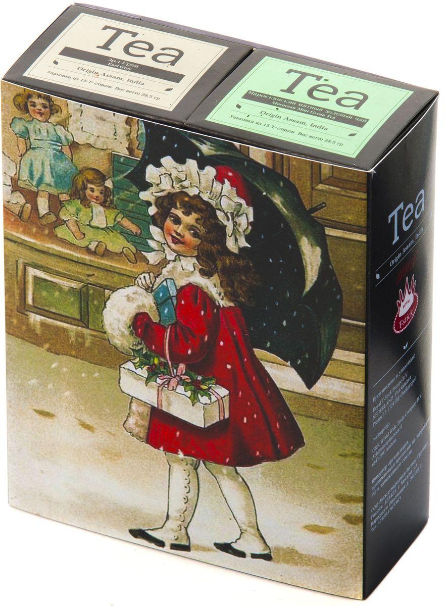 Подарочный набор Royal T-Stick: Mint Green Tea зеленый чай и Earl Grey черный чай в стиках, 30 шт1612703Подарочный набор из 2- пачек чая премиум класса,упакован в коробку для транспортировки. Натуральный зеленый чай с ароматом мяты порадует вас своим тонким и нежным вкусом. Способствует расщеплению жиров и успокаивает нервную систему. Чай Ассам с бергамотом порадует вас насыщенным ,янтарно -красным цветом, терпким ароматом бергамота и пряным, солодово-медовым вкусом . Чай обладает тонизирующим свойством. Чай упакован в пищевую фольгу, которую можно использовать вместо ложечки для размешивания сахара. Опустите стик в кипяток, оставьте на 3 минуты, размешайте кусочек сахара. Достаньте стик из стакана, потрясите им о край стакана, так, чтобы стекли последние капли, и положите рядом. Вся влага останется внутри стика.Прекрасный подарок родным и близким,и отличный повод удивить коллег по работе и друзей, внедряя новую, элегантную культуру чаепития!