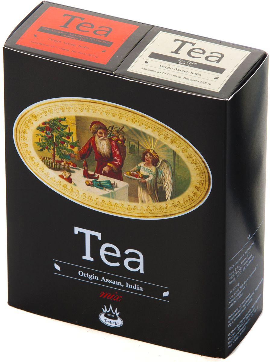 Подарочный набор Royal T-Stick: Earl Grey черный чай и Strawberry Tea черный чай в стиках, 30 шт1612801Подарочный набор из 2 пачек чая премиум класса упакован в коробку для транспортировки. Чай Ассам с бергамотом порадует вас насыщенным янтарно- красным цветом, терпким ароматом бергамота и пряным, солодово-медовым вкусом. Чай обладает тонизирующим свойством. Натуральный черный чай с ароматом клубники порадует вас золотисто-медовым цветом, тонким ароматом клубники, который создается путем смешивания реальных кусочков клубники и индийского чая из штата Ассам. Чай упакован в пищевую фольгу, которую можно использовать вместо ложечки для размешивания сахара. Опустите стик в кипяток, оставьте на 3 минуты, размешайте кусочек сахара. Достаньте стик из стакана, потрясите им о край стакана, так, чтобы стекли последние капли, и положите рядом. Вся влага останется внутри стика. Прекрасный подарок родным и близким и отличный повод удивить коллег по работе и друзей, внедряя новую, элегантную культуру чаепития!