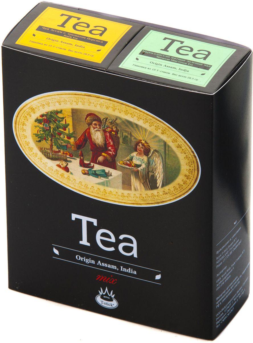 Подарочный набор Royal T-Stick: Mint Green Tea зеленый чай и Peach Tea черный чай в стиках, 30 шт1612802Подарочный набор из 2- пачек чая премиум класса,упакован в коробку для транспортировки. Натуральный зеленый чай с ароматом мяты порадует вас своим тонким и нежным вкусом. Способствует расщеплению жиров и успокаивает нервную систему. Натуральный черный чай с ароматом персика порадует вас золотисто-медовым цветом, тонким ароматом персика и изысканным вкусом , который создается путем смешивания реальных кусочков персика и индийского чая из штата Ассам. Чай упакован в пищевую фольгу, которую можно использовать вместо ложечки для размешивания сахара. Опустите стик в кипяток, оставьте на 3 минуты, размешайте кусочек сахара. Достаньте стик из стакана, потрясите им о край стакана, так, чтобы стекли последние капли, и положите рядом. Вся влага останется внутри стика.Прекрасный подарок родным и близким,и отличный повод удивить коллег по работе и друзей, внедряя новую, элегантную культуру чаепития!