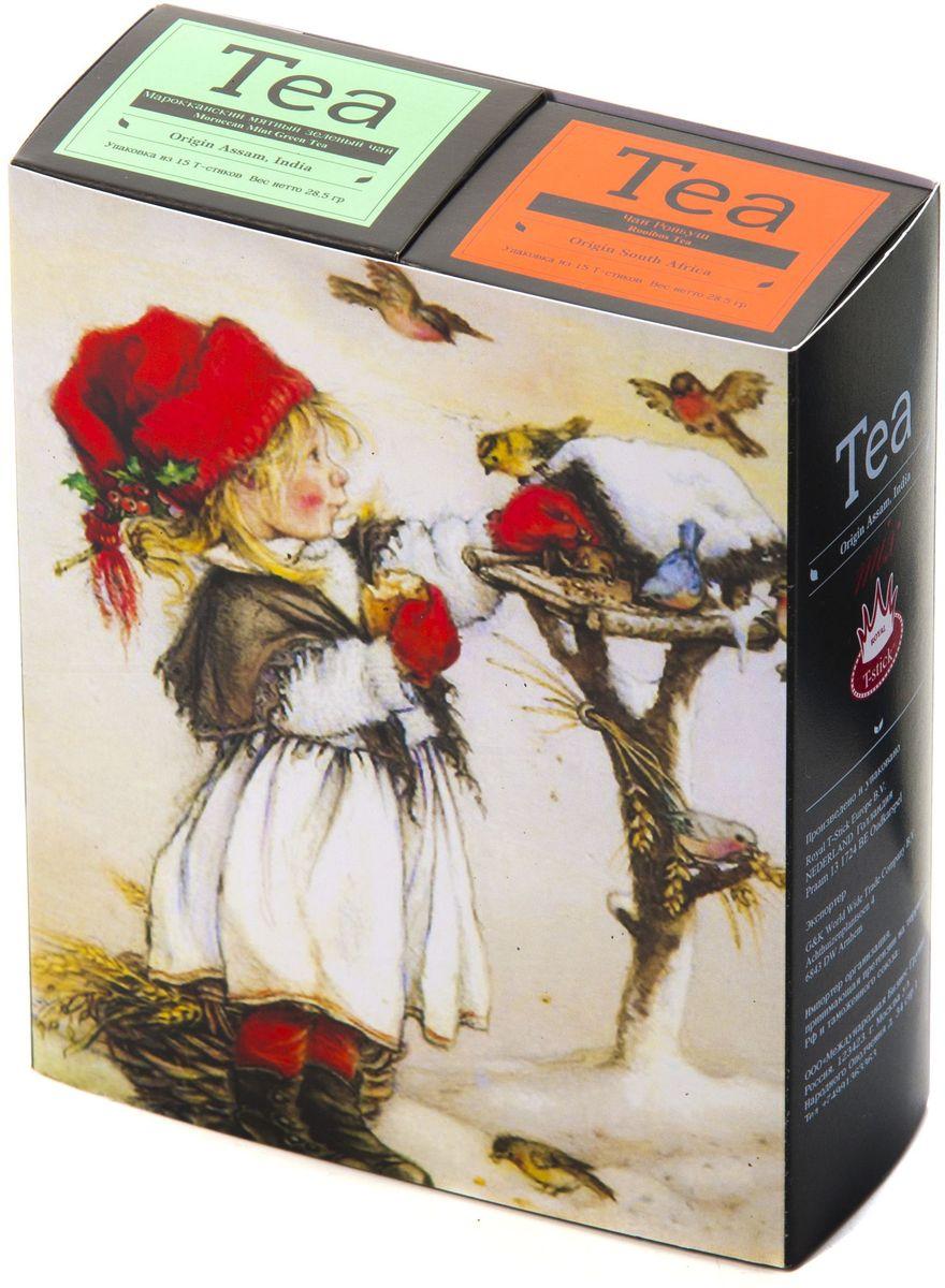 Подарочный набор Royal T-Stick: Mint Green Tea зеленый чай и Rooibos Tea красный чай в стиках, 30 шт1612902Подарочный набор из 2- пачек чая премиум класса,упакован в коробку для транспортировки. Натуральный зеленый чай с ароматом мяты порадует вас своим тонким и нежным вкусом. Способствует расщеплению жиров и успокаивает нервную систему. Ройбош натуральный чай из листьев южноафриканского кустарника. Обладает сладковатым вкусом, с едва уловимыми ореховыми нотами. Чай обладает тонизирующим и бодрящим свойством. Снижает аппетит.Рекомендуется людям контролирующим свою массу тела. Чай упакован в пищевую фольгу, которую можно использовать вместо ложечки для размешивания сахара. Опустите стик в кипяток, оставьте на 3 минуты, размешайте кусочек сахара. Достаньте стик из стакана, потрясите им о край стакана, так, чтобы стекли последние капли, и положите рядом. Вся влага останется внутри стика.Прекрасный подарок родным и близким,и отличный повод удивить коллег по работе и друзей, внедряя новую, элегантную культуру чаепития!