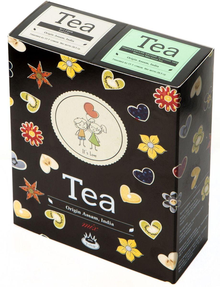 Подарочный набор Royal T-Stick: Earl Grey черный чай и Mint Green Tea зеленый чай в стиках, 30 шт2101Подарочный набор из 2- пачек чая премиум класса,упакован в коробку для транспортировки. Чай Ассам с бергамотом порадует вас насыщенным ,янтарно -красным цветом, терпким ароматом бергамота и пряным, солодово-медовым вкусом . Чай обладает тонизирующим свойством. Натуральный зеленый чай с ароматом мяты порадует вас своим тонким и нежным вкусом. Способствует расщеплению жиров и успокаивает нервную систему. Чай упакован в пищевую фольгу, которую можно использовать вместо ложечки для размешивания сахара. Опустите стик в кипяток, оставьте на 3 минуты, размешайте кусочек сахара. Достаньте стик из стакана, потрясите им о край стакана, так, чтобы стекли последние капли, и положите рядом. Вся влага останется внутри стика.Прекрасный подарок родным и близким,и отличный повод удивить коллег по работе и друзей, внедряя новую, элегантную культуру чаепития!