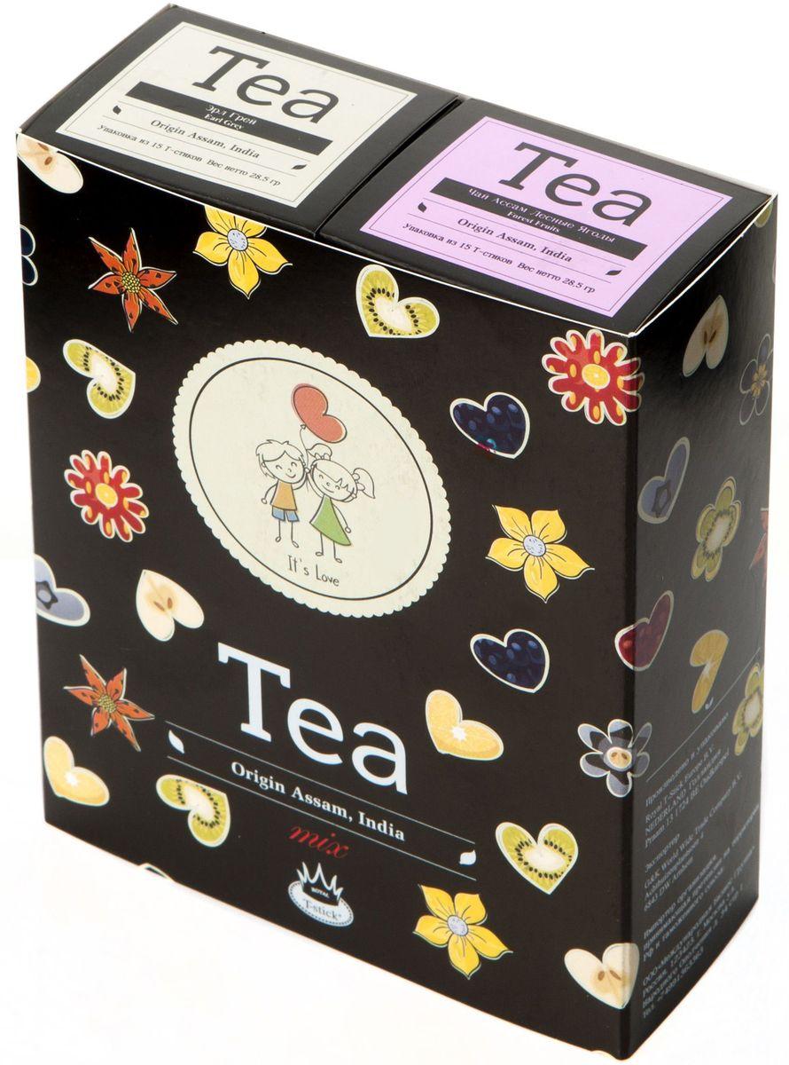 Подарочный набор Royal T-Stick: Earl Grey черный чай и Forest Fruits Tea черный чай в стиках, 30 шт2105Подарочный набор из 2 пачек чая премиум класса упакован в коробку для транспортировки. Чай Ассам с бергамотом порадует вас насыщенным янтарно- красным цветом, терпким ароматом бергамота и пряным, солодово-медовым вкусом. Чай обладает тонизирующим свойством. Чай Асам с ароматом лесных ягод порадует вас своим сладким фруктовым вкусом и ароматом лесных ягод и фруктов. Богат антиоксидантами, способствующих нейтрализации токсинов в нашем организме. Чай упакован в пищевую фольгу, которую можно использовать вместо ложечки для размешивания сахара. Опустите стик в кипяток, оставьте на 3 минуты, размешайте кусочек сахара. Достаньте стик из стакана, потрясите им о край стакана, так, чтобы стекли последние капли, и положите рядом. Вся влага останется внутри стика. Прекрасный подарок родным и близким и отличный повод удивить коллег по работе и друзей, внедряя новую, элегантную культуру чаепития!