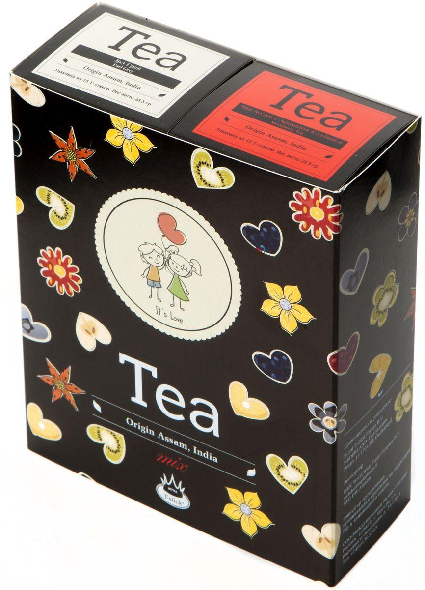 Подарочный набор Royal T-Stick: Earl Grey черный чай и Strawberry Tea черный чай в стиках, 30 шт2108Подарочный набор из 2- пачек чая премиум класса,упакован в коробку для транспортировки. Чай Ассам с бергамотом порадует вас насыщенным ,янтарно -красным цветом, терпким ароматом бергамота и пряным, солодово-медовым вкусом . Чай обладает тонизирующим свойством. Натуральный черный чай с ароматом клубники порадует вас золотисто-медовым цветом, тонким ароматом клубники, который создается путем смешивания реальных кусочков клубники и индийского чая из штата Ассам. Чай упакован в пищевую фольгу, которую можно использовать вместо ложечки для размешивания сахара. Опустите стик в кипяток, оставьте на 3 минуты, размешайте кусочек сахара. Достаньте стик из стакана, потрясите им о край стакана, так, чтобы стекли последние капли, и положите рядом. Вся влага останется внутри стика.Прекрасный подарок родным и близким,и отличный повод удивить коллег по работе и друзей, внедряя новую, элегантную культуру чаепития!