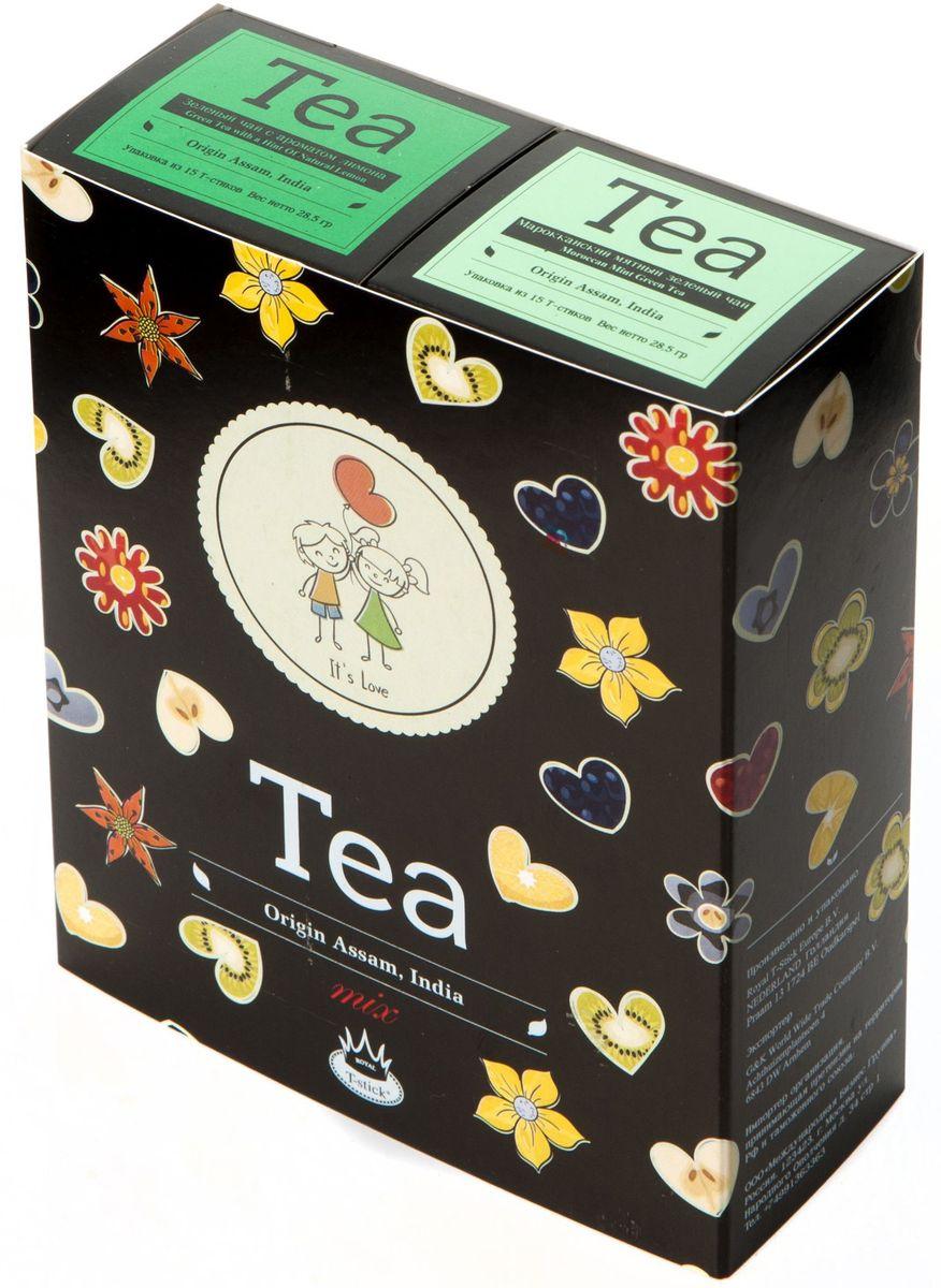 Подарочный набор Royal T-Stick: Mint Green Tea зеленый чай и Green Tea with a Hint of Natural Lemon зеленый чай в стиках, 30 шт2110Подарочный набор из 2- пачек чая премиум класса,упакован в коробку для транспортировки. Натуральный зеленый чай с ароматом мяты порадует вас своим тонким и нежным вкусом. Способствует расщеплению жиров и успокаивает нервную систему. Зеленый чай с ароматом лимона порадует Вас своим золотистым цветом ,нежным ароматом лимона и освежающим послевкусием.Обогащение зеленого чая ароматом лимона усиливает полезные свойства природных антиоксидантов. Чай упакован в пищевую фольгу, которую можно использовать вместо ложечки для размешивания сахара. Опустите стик в кипяток, оставьте на 3 минуты, размешайте кусочек сахара. Достаньте стик из стакана, потрясите им о край стакана, так, чтобы стекли последние капли, и положите рядом. Вся влага останется внутри стика.Прекрасный подарок родным и близким,и отличный повод удивить коллег по работе и друзей, внедряя новую, элегантную культуру чаепития!