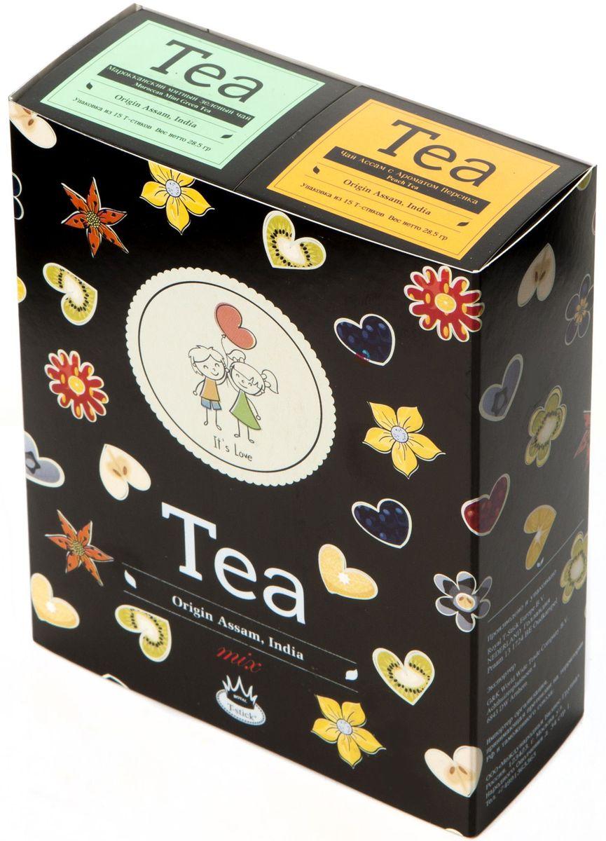 Подарочный набор Royal T-Stick: Mint Green Tea зеленый чай и Peach Tea черный чай в стиках, 30 шт2111Подарочный набор из 2- пачек чая премиум класса,упакован в коробку для транспортировки. Натуральный зеленый чай с ароматом мяты порадует вас своим тонким и нежным вкусом. Способствует расщеплению жиров и успокаивает нервную систему. Натуральный черный чай с ароматом персика порадует вас золотисто-медовым цветом, тонким ароматом персика и изысканным вкусом , который создается путем смешивания реальных кусочков персика и индийского чая из штата Ассам. Чай упакован в пищевую фольгу, которую можно использовать вместо ложечки для размешивания сахара. Опустите стик в кипяток, оставьте на 3 минуты, размешайте кусочек сахара. Достаньте стик из стакана, потрясите им о край стакана, так, чтобы стекли последние капли, и положите рядом. Вся влага останется внутри стика.Прекрасный подарок родным и близким,и отличный повод удивить коллег по работе и друзей, внедряя новую, элегантную культуру чаепития!