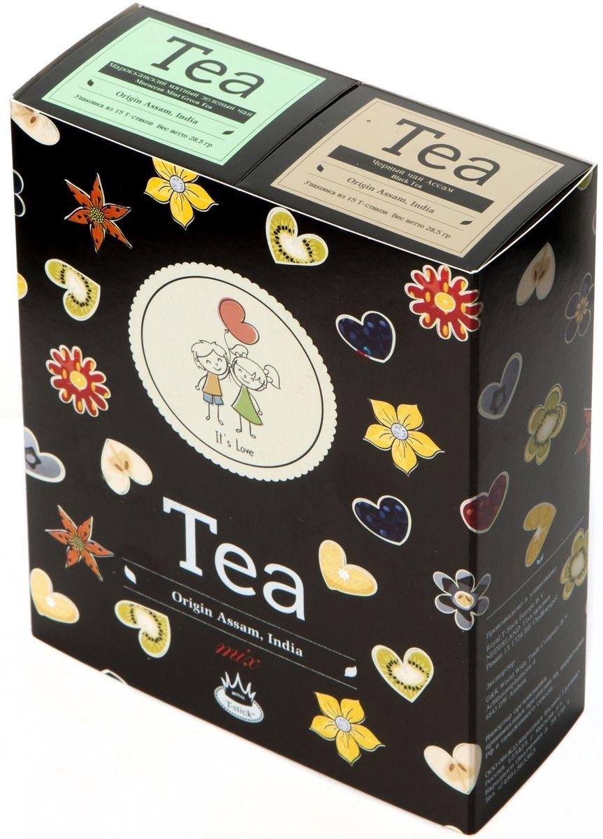 Подарочный набор Royal T-Stick: Mint Green Tea зеленый чай и High Tea черный чай в стиках, 30 шт2115Подарочный набор из 2- пачек чая премиум класса,упакован в коробку для транспортировки. Натуральный зеленый чай с ароматом мяты порадует вас своим тонким и нежным вкусом. Способствует расщеплению жиров и успокаивает нервную систему. Чай Ассам порадует вас насыщенным ,янтарно -красным цветом, терпким ароматом и пряным, солодово-медовым вкусом . Чай упакован в пищевую фольгу, которую можно использовать вместо ложечки для размешивания сахара. Опустите стик в кипяток, оставьте на 3 минуты, размешайте кусочек сахара. Достаньте стик из стакана, потрясите им о край стакана, так, чтобы стекли последние капли, и положите рядом. Вся влага останется внутри стика.Прекрасный подарок родным и близким,и отличный повод удивить коллег по работе и друзей, внедряя новую, элегантную культуру чаепития!