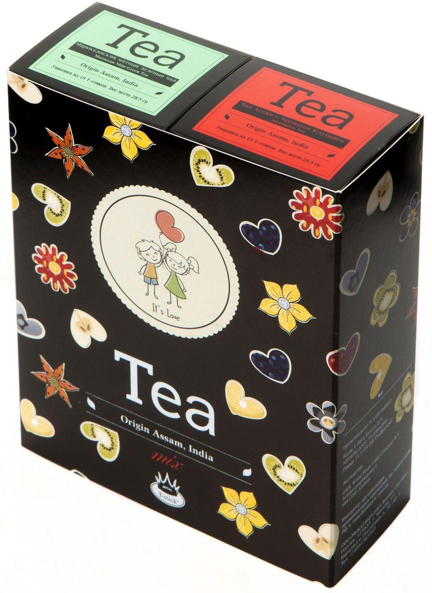 Подарочный набор Royal T-Stick: Mint Green Tea зеленый чай и Strawberry Tea черный чай в стиках, 30 шт2116Подарочный набор из 2- пачек чая премиум класса,упакован в коробку для транспортировки. Натуральный зеленый чай с ароматом мяты порадует вас своим тонким и нежным вкусом. Способствует расщеплению жиров и успокаивает нервную систему. Натуральный черный чай с ароматом клубники порадует вас золотисто-медовым цветом, тонким ароматом клубники, который создается путем смешивания реальных кусочков клубники и индийского чая из штата Ассам. Чай упакован в пищевую фольгу, которую можно использовать вместо ложечки для размешивания сахара. Опустите стик в кипяток, оставьте на 3 минуты, размешайте кусочек сахара. Достаньте стик из стакана, потрясите им о край стакана, так, чтобы стекли последние капли, и положите рядом. Вся влага останется внутри стика.Прекрасный подарок родным и близким,и отличный повод удивить коллег по работе и друзей, внедряя новую, элегантную культуру чаепития!